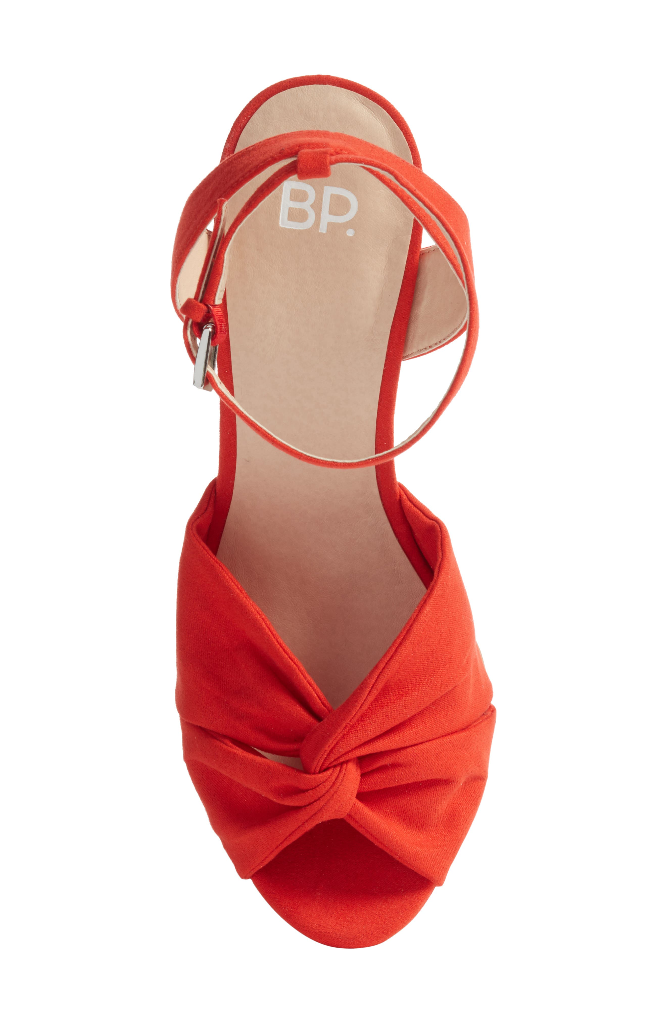 Arya Platform Wedge Sandal,                             Alternate thumbnail 5, color,                             Poppy Faux Suede