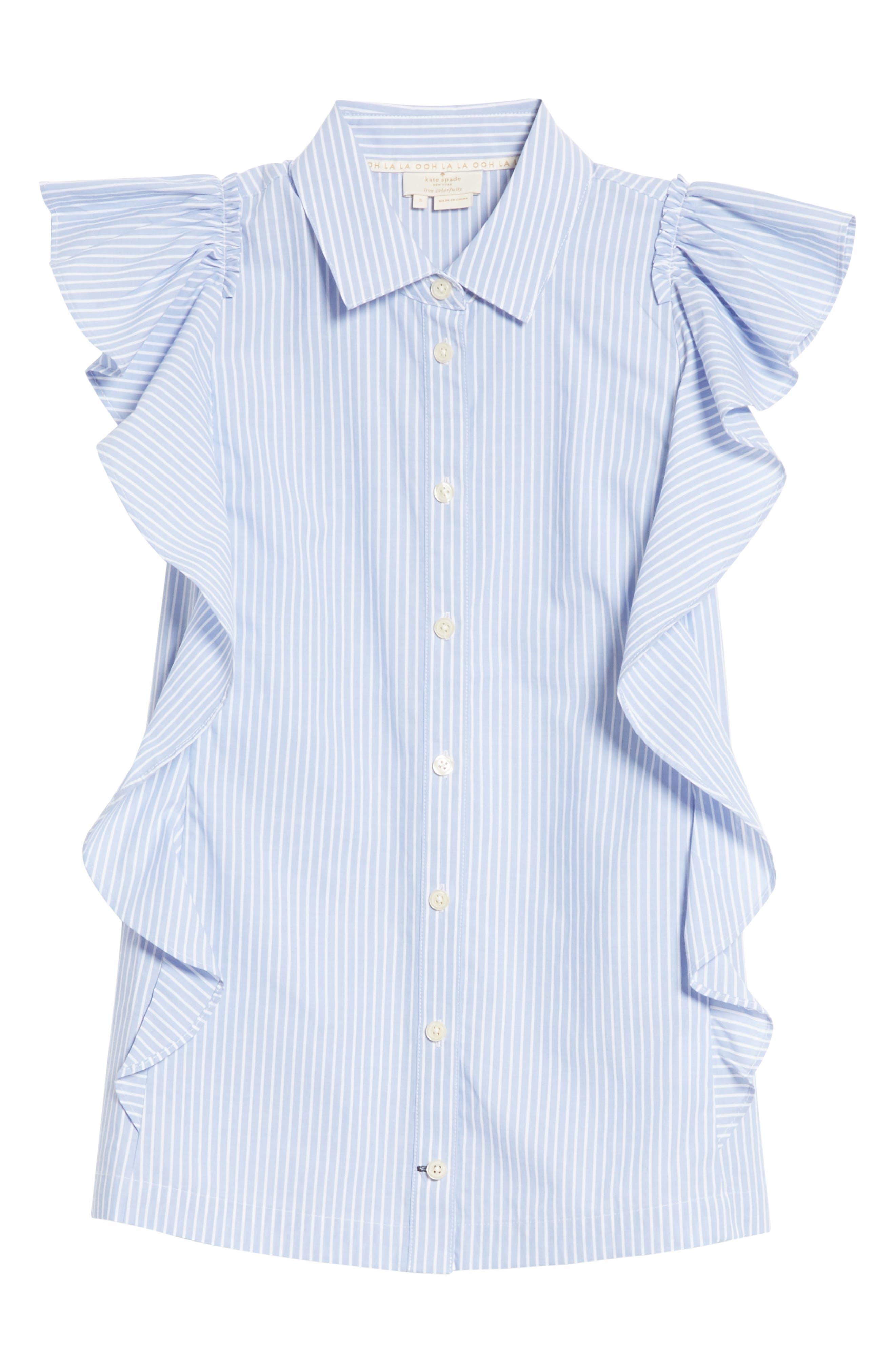 flutter sleeve stripe cotton blouse,                             Alternate thumbnail 6, color,                             Manatee/ Fresh White