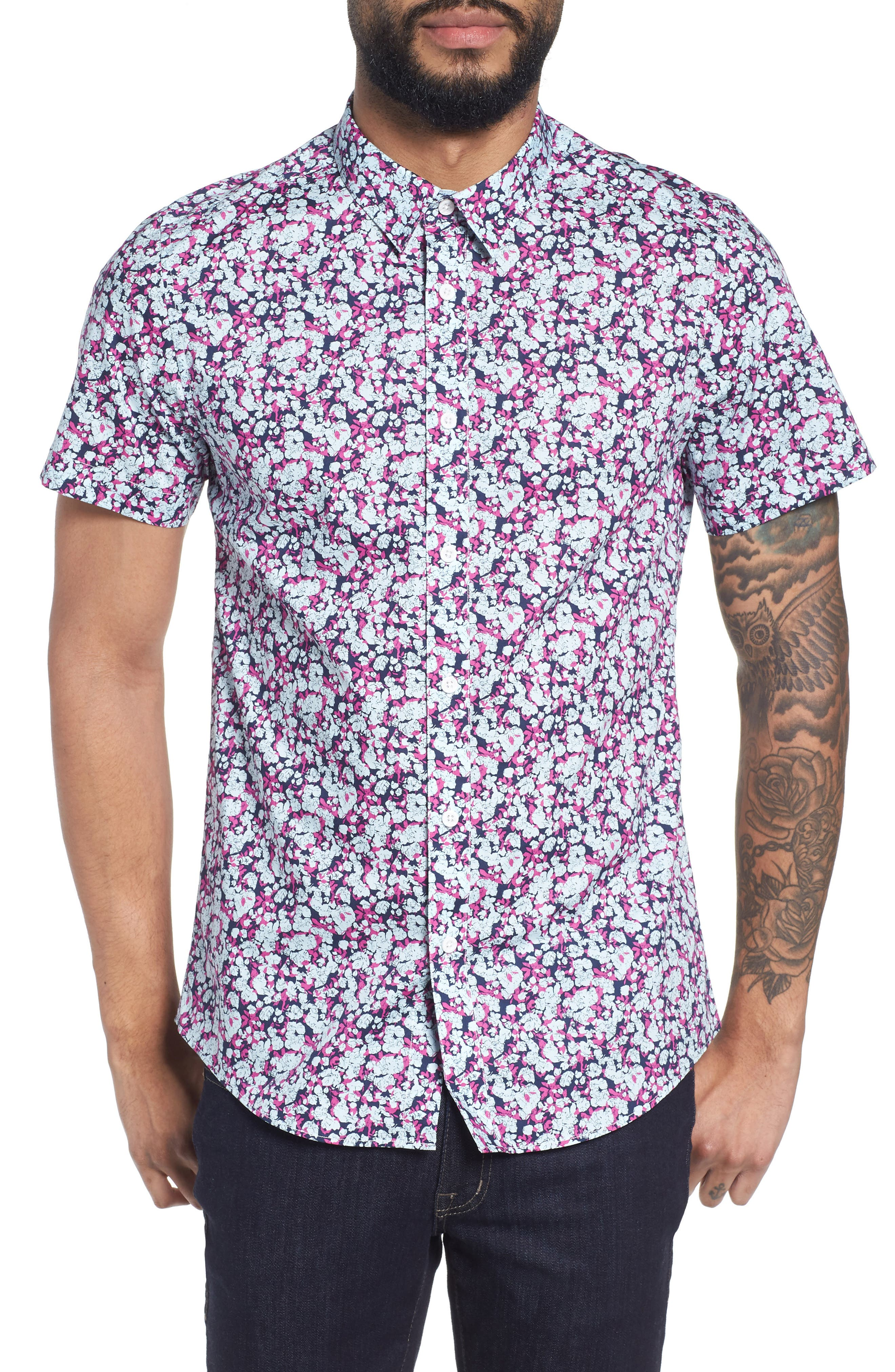 Print Woven Short Sleeve Shirt,                             Main thumbnail 1, color,                             Pink Navy