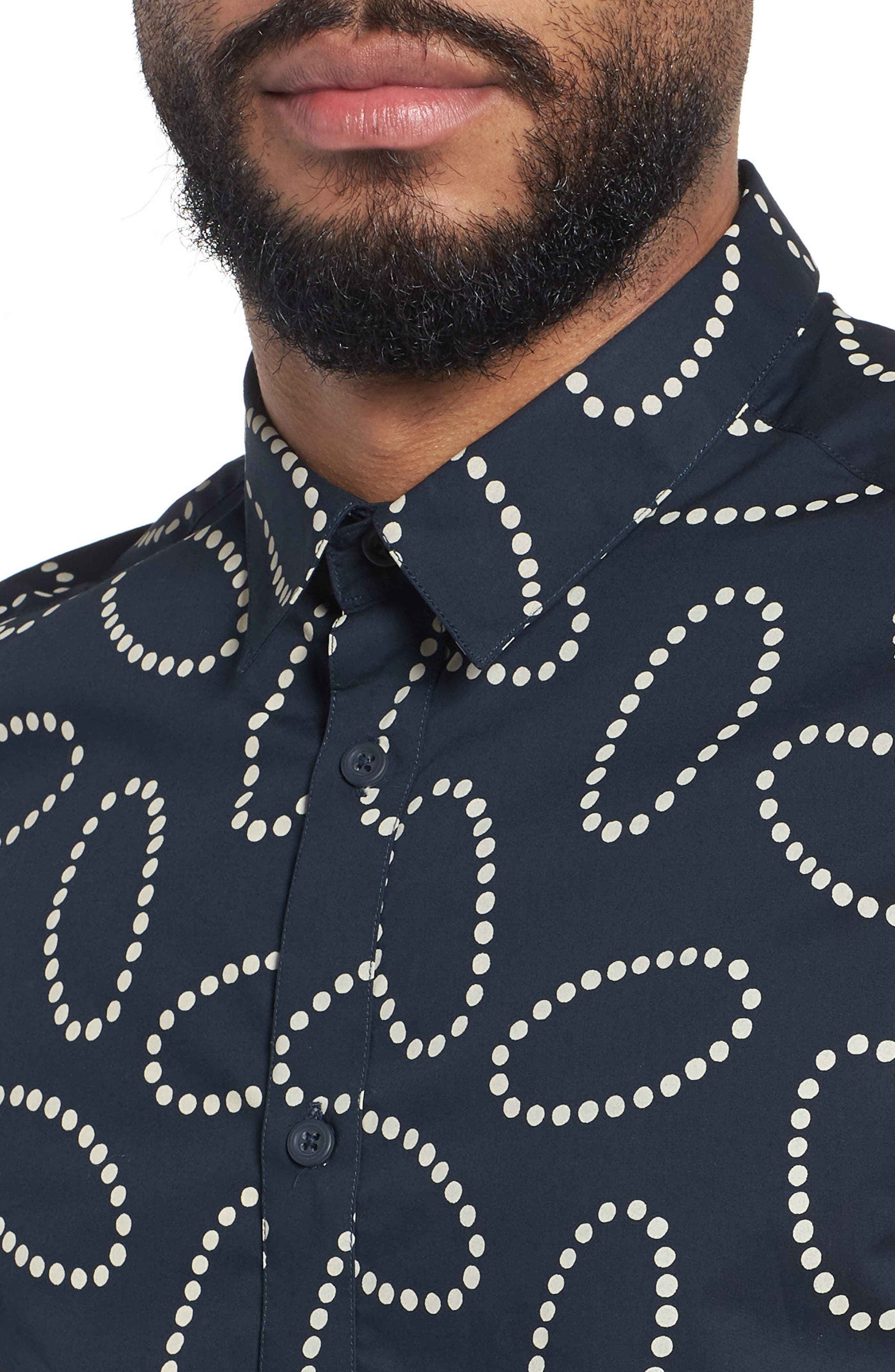 Woven Short Sleeve Shirt,                             Alternate thumbnail 4, color,                             Navy Cream