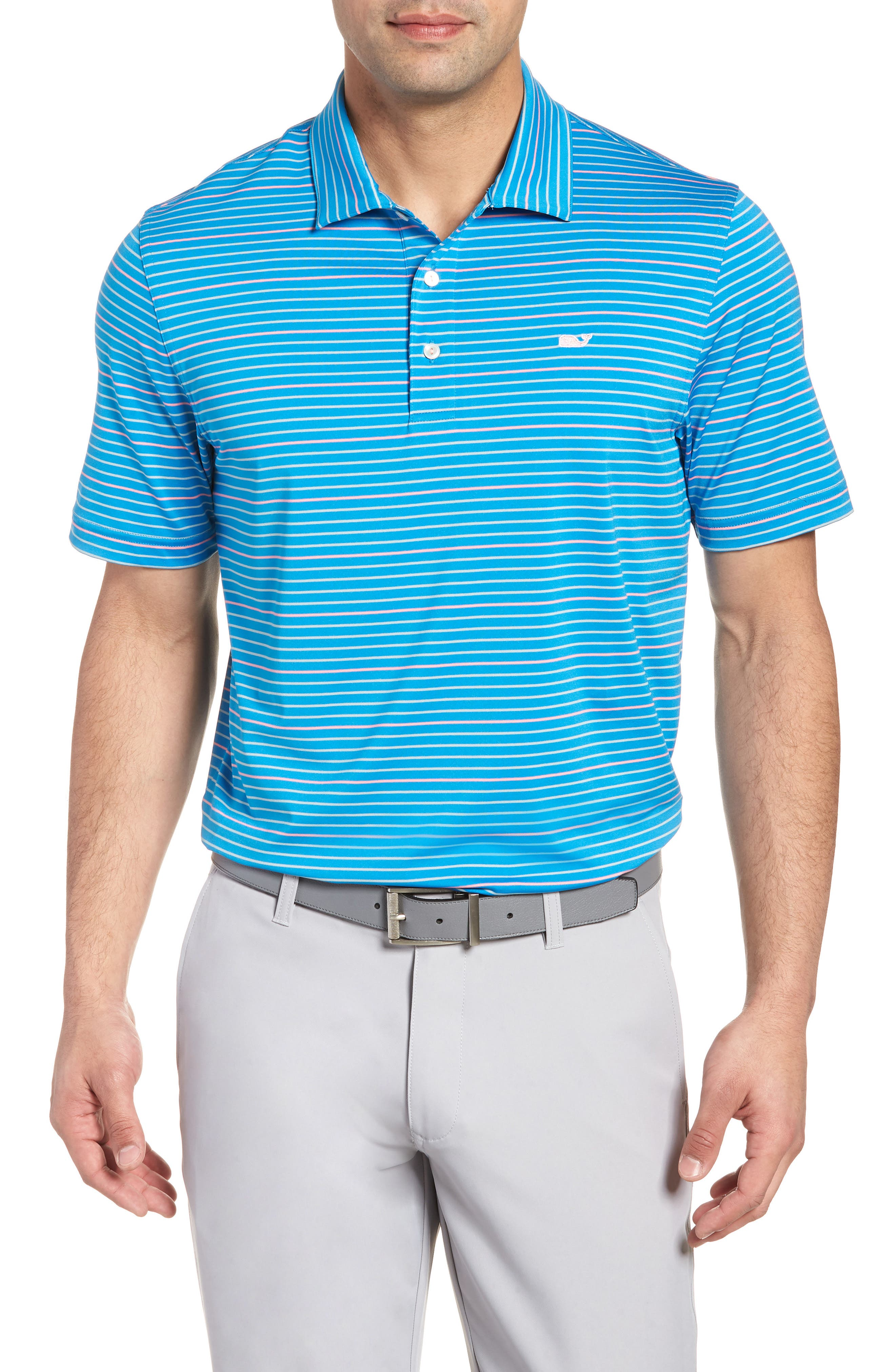 Swindell Stretch Stripe Polo,                         Main,                         color, Dark Cerulean