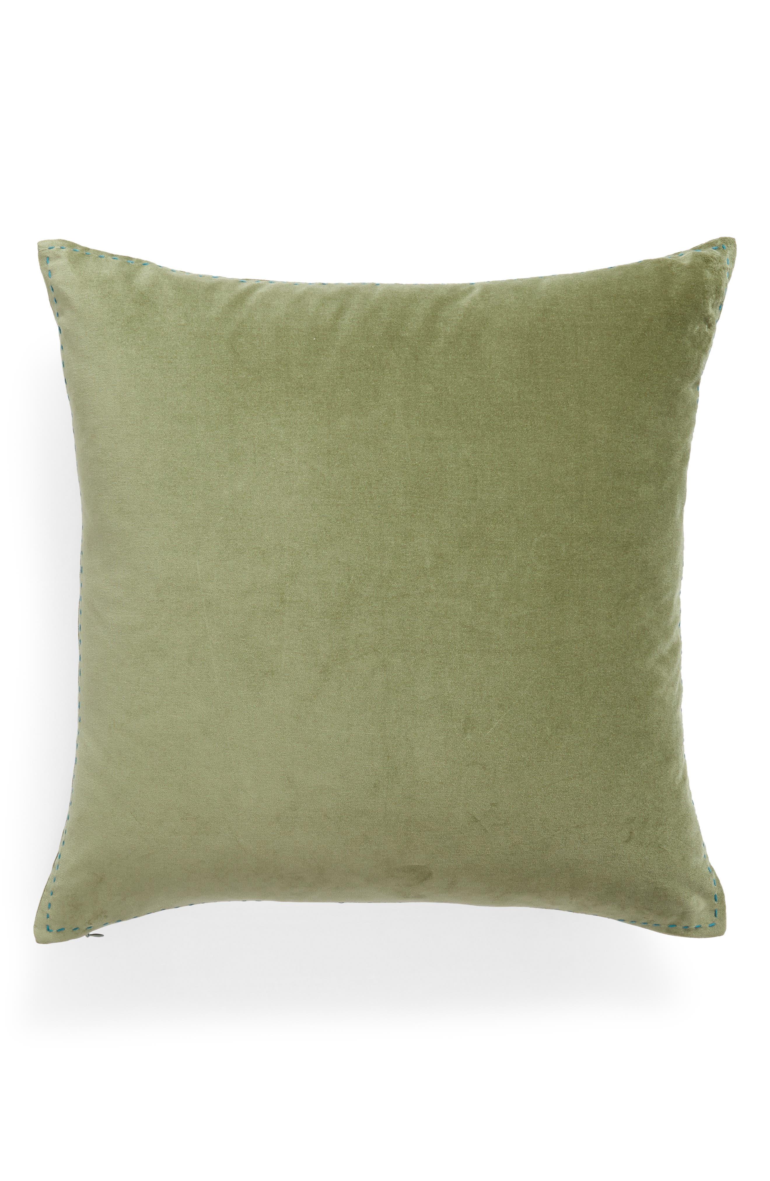 Ticking Border Accent Pillow,                             Main thumbnail 1, color,                             Green Sorrel