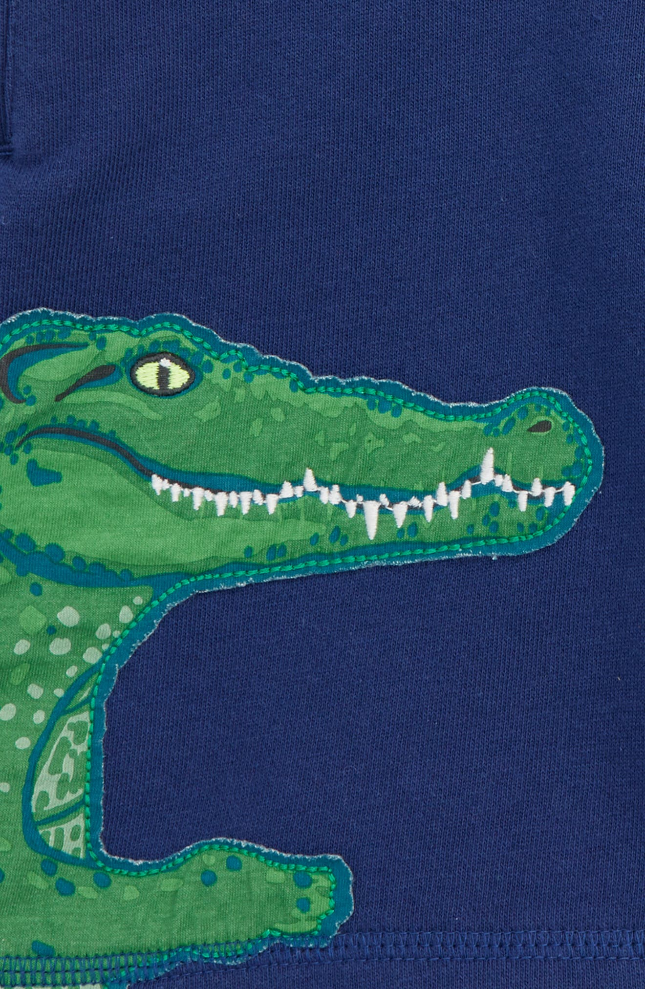 Crocodile Appliqué Sweat Shorts,                             Alternate thumbnail 3, color,                             Beacon Blue Crocodile