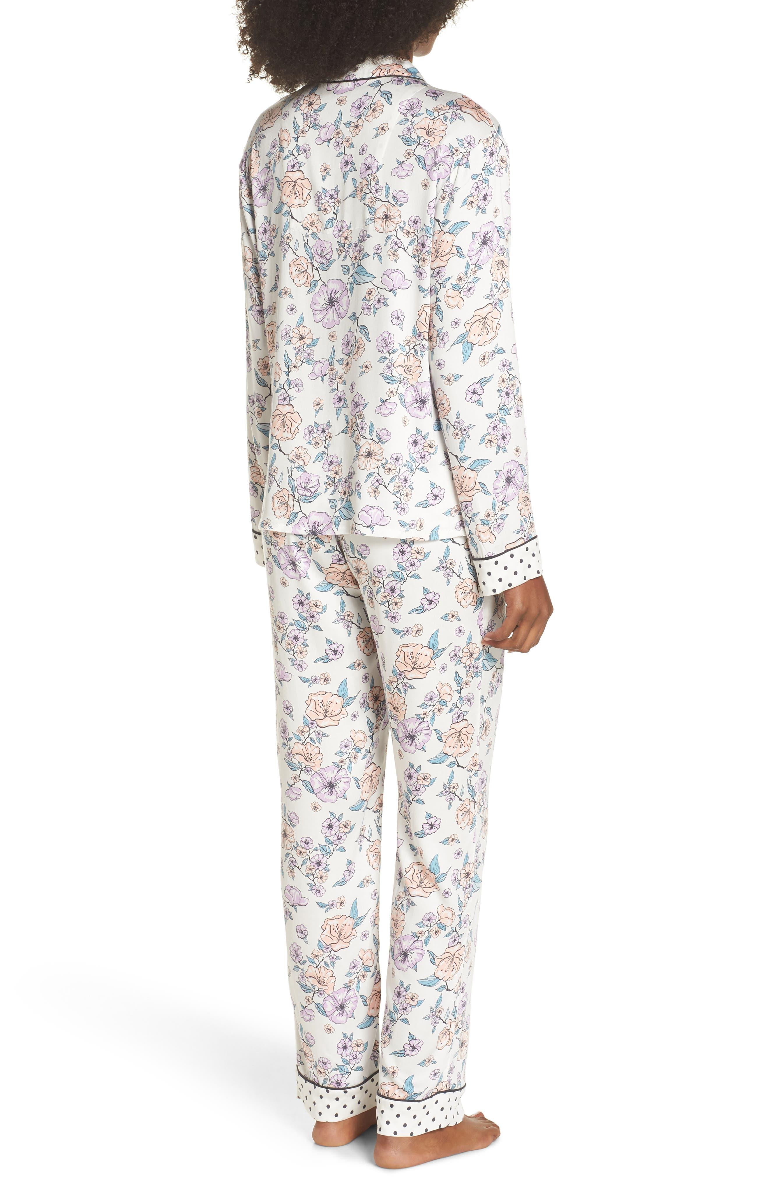 Floral Print Pajamas,                             Alternate thumbnail 2, color,                             Natural