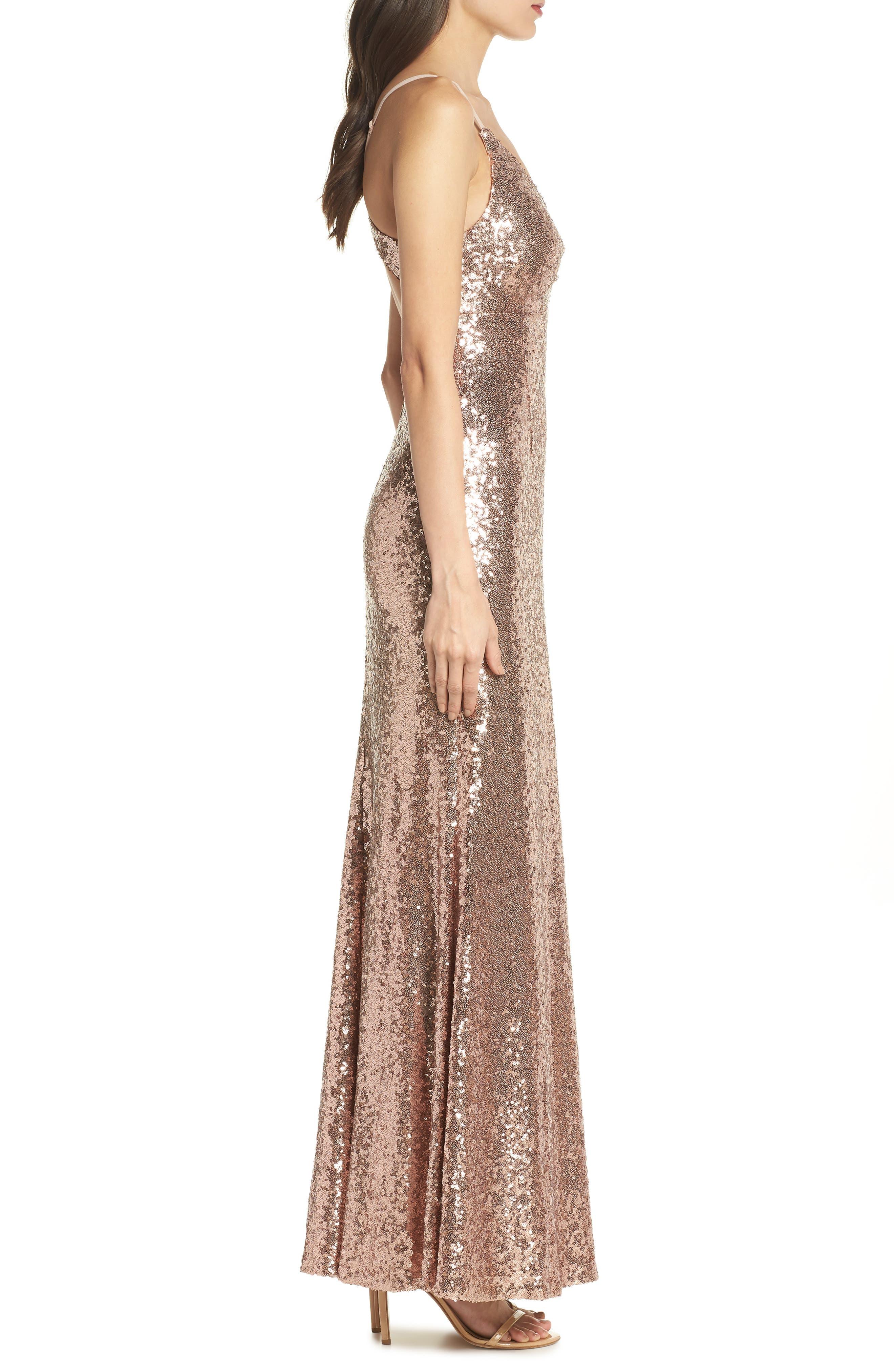 Keyhole Back Sequin Gown,                             Alternate thumbnail 3, color,                             Rose/ Gold