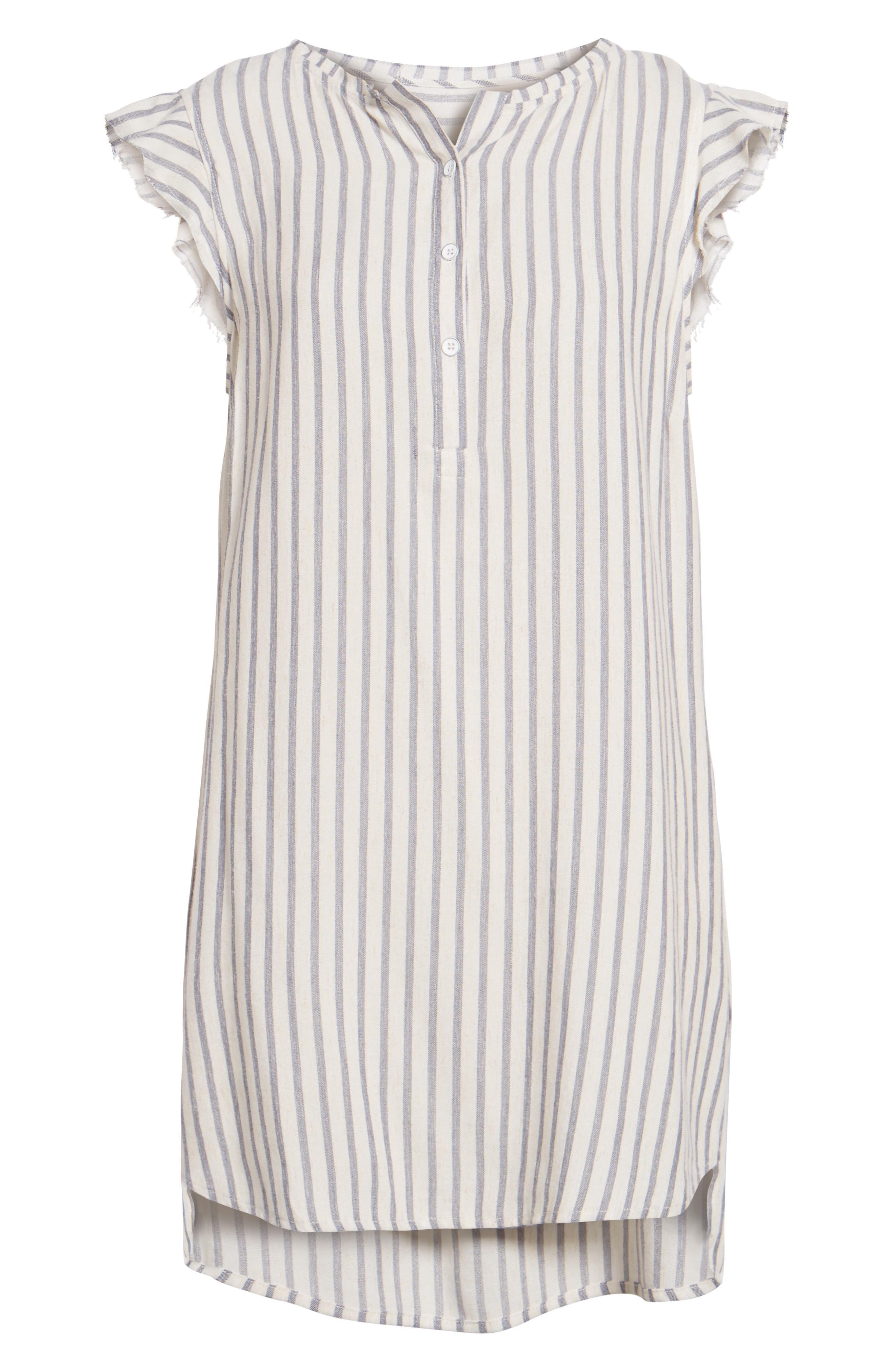 Stripe Ruffle Sleeve Shift Dress,                             Alternate thumbnail 6, color,                             Off White/ Blue