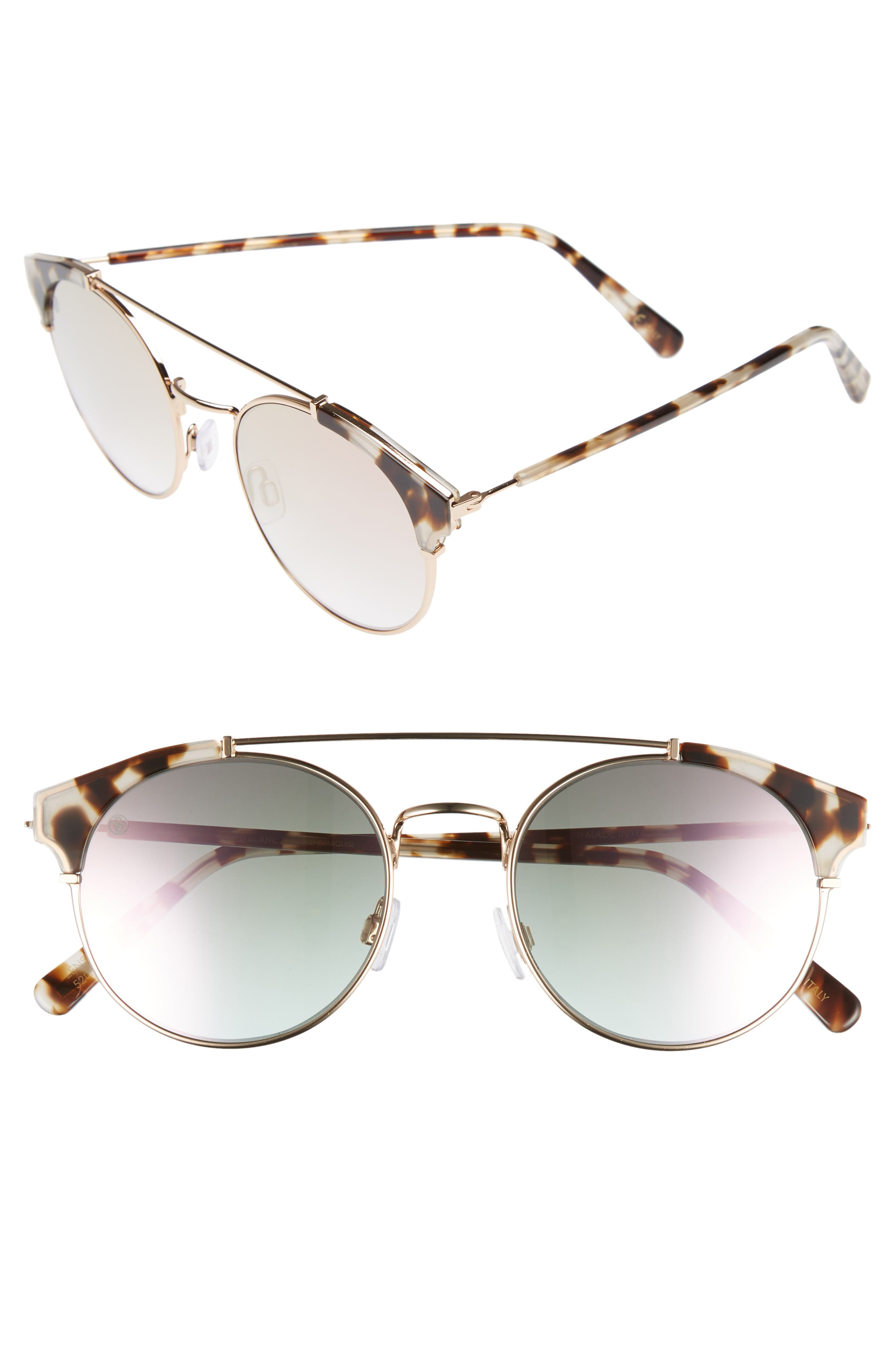 D'BLANC x Amuse Society Dosed Marquis 52mm Gradient Round Aviator Sunglasses,                         Main,                         color, Snow Leopard/ Rose Flash
