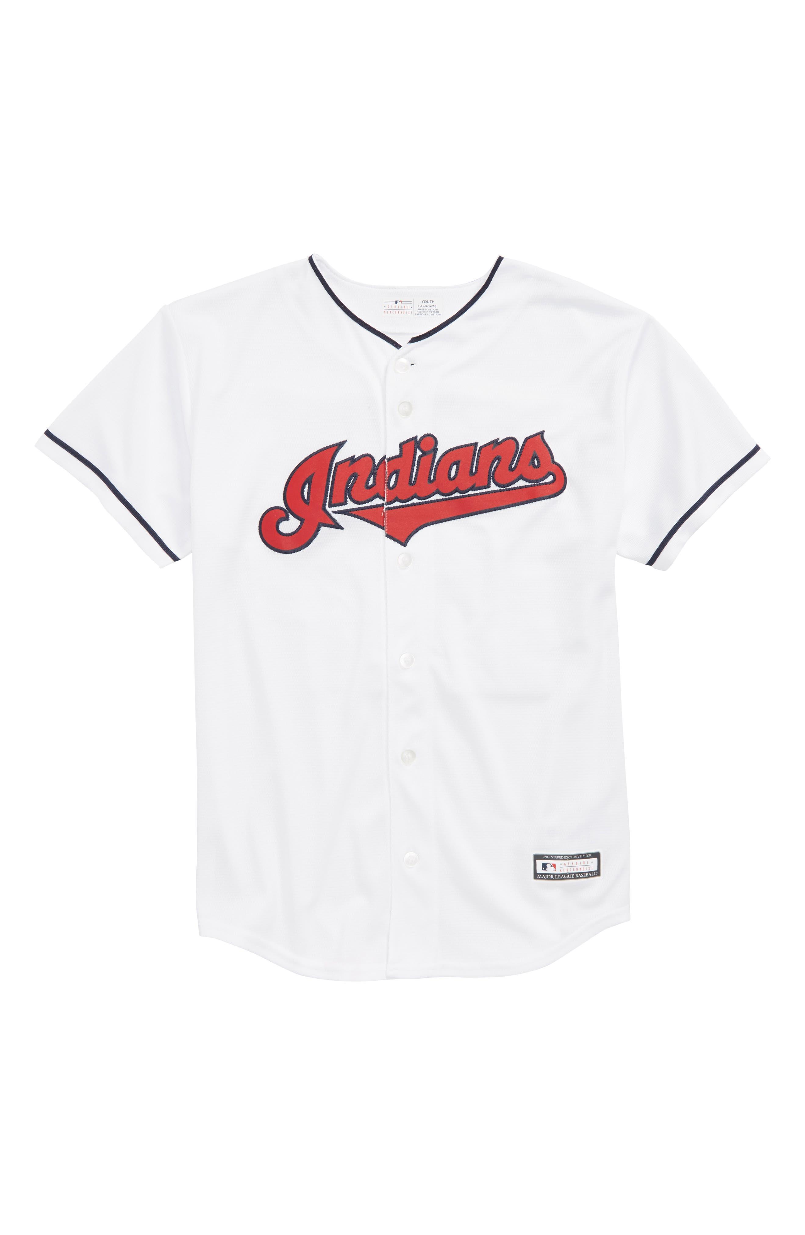 Cleveland Indians - Francisco Lindor Baseball Jersey,                             Main thumbnail 1, color,                             White