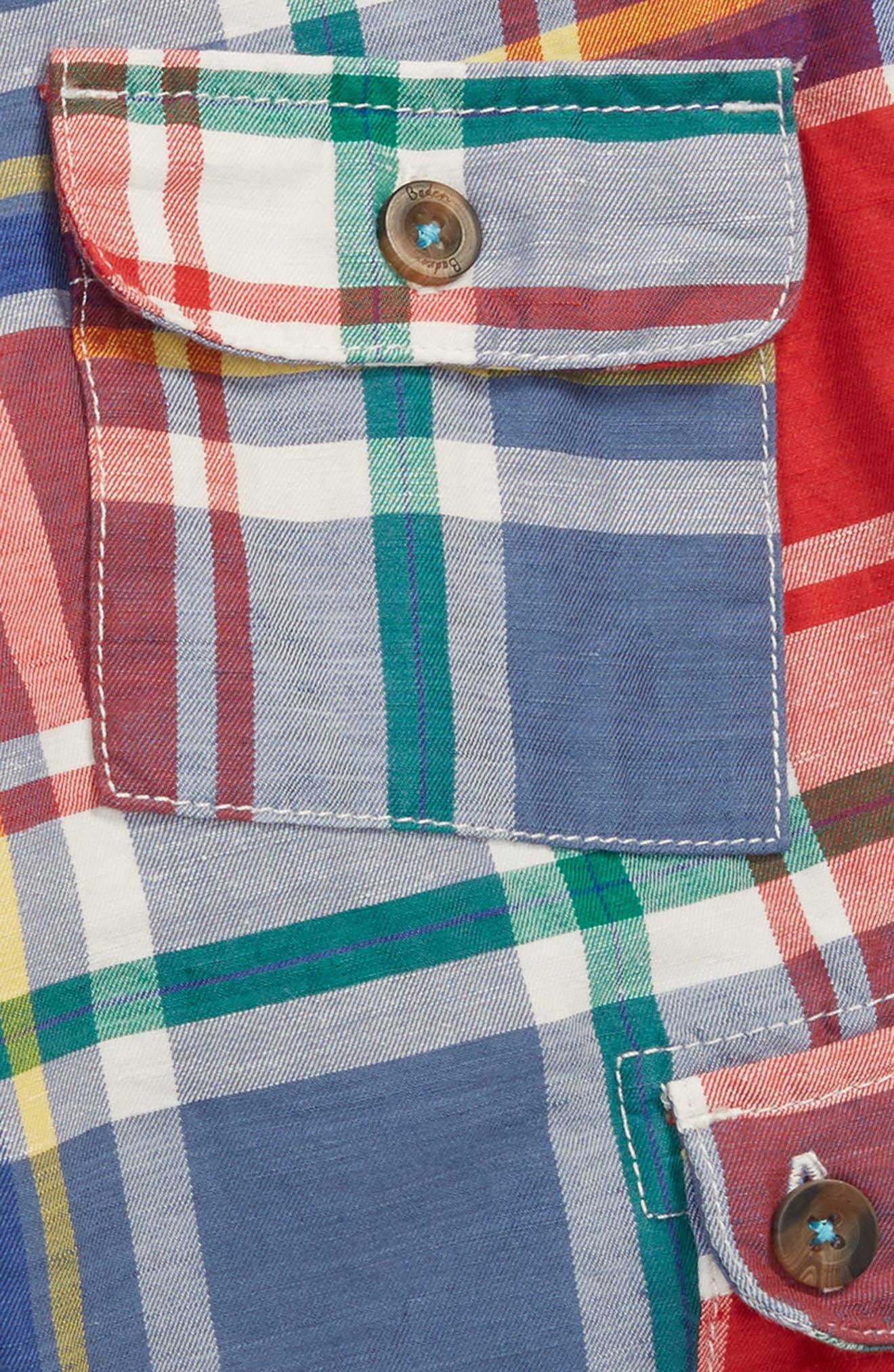 Plaid Cargo Shorts,                             Alternate thumbnail 3, color,                             Washed Crimson Red/ Blue