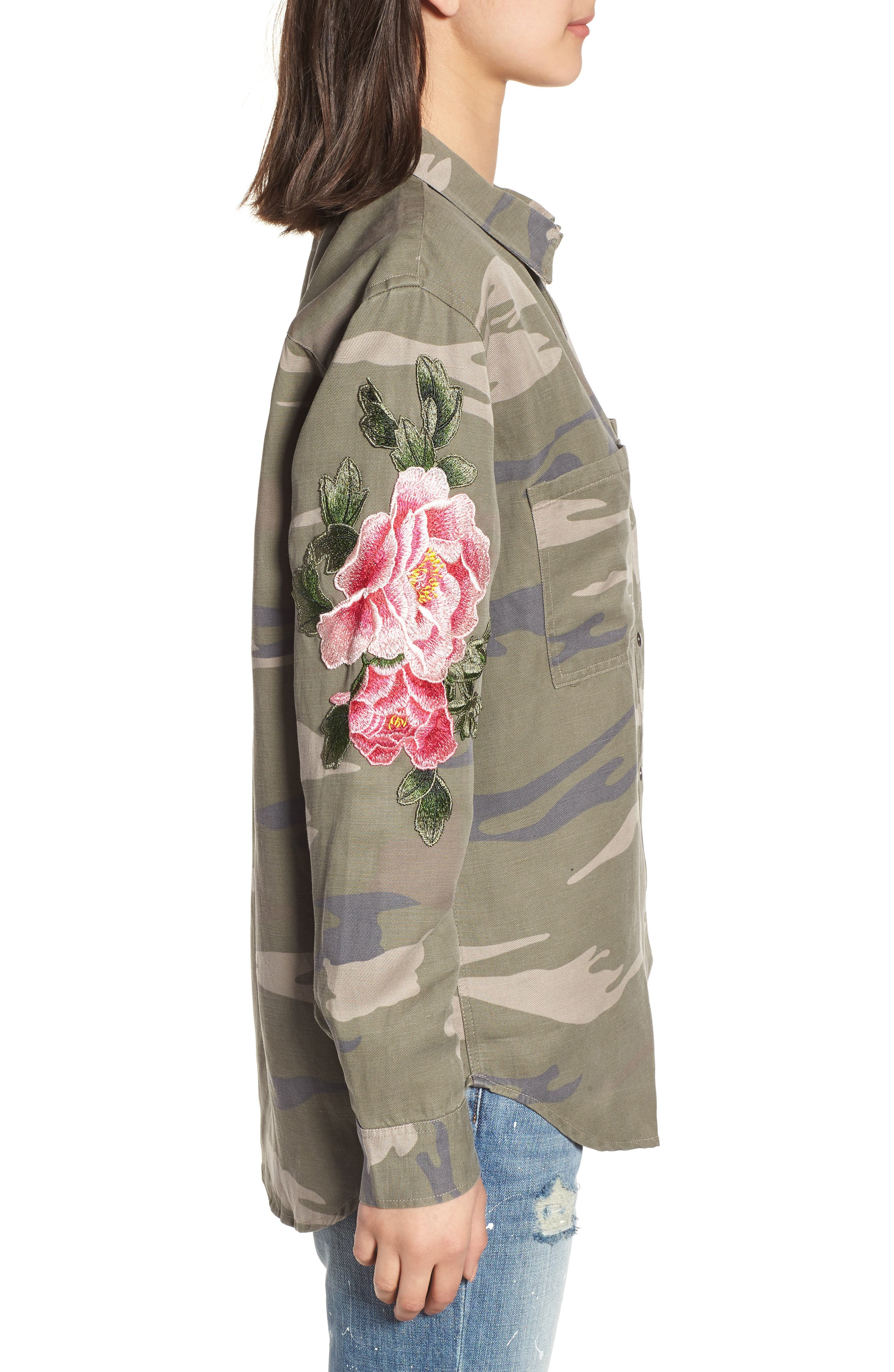 Marcel Embroidered Shirt,                             Alternate thumbnail 3, color,                             Sage Camo With Floral