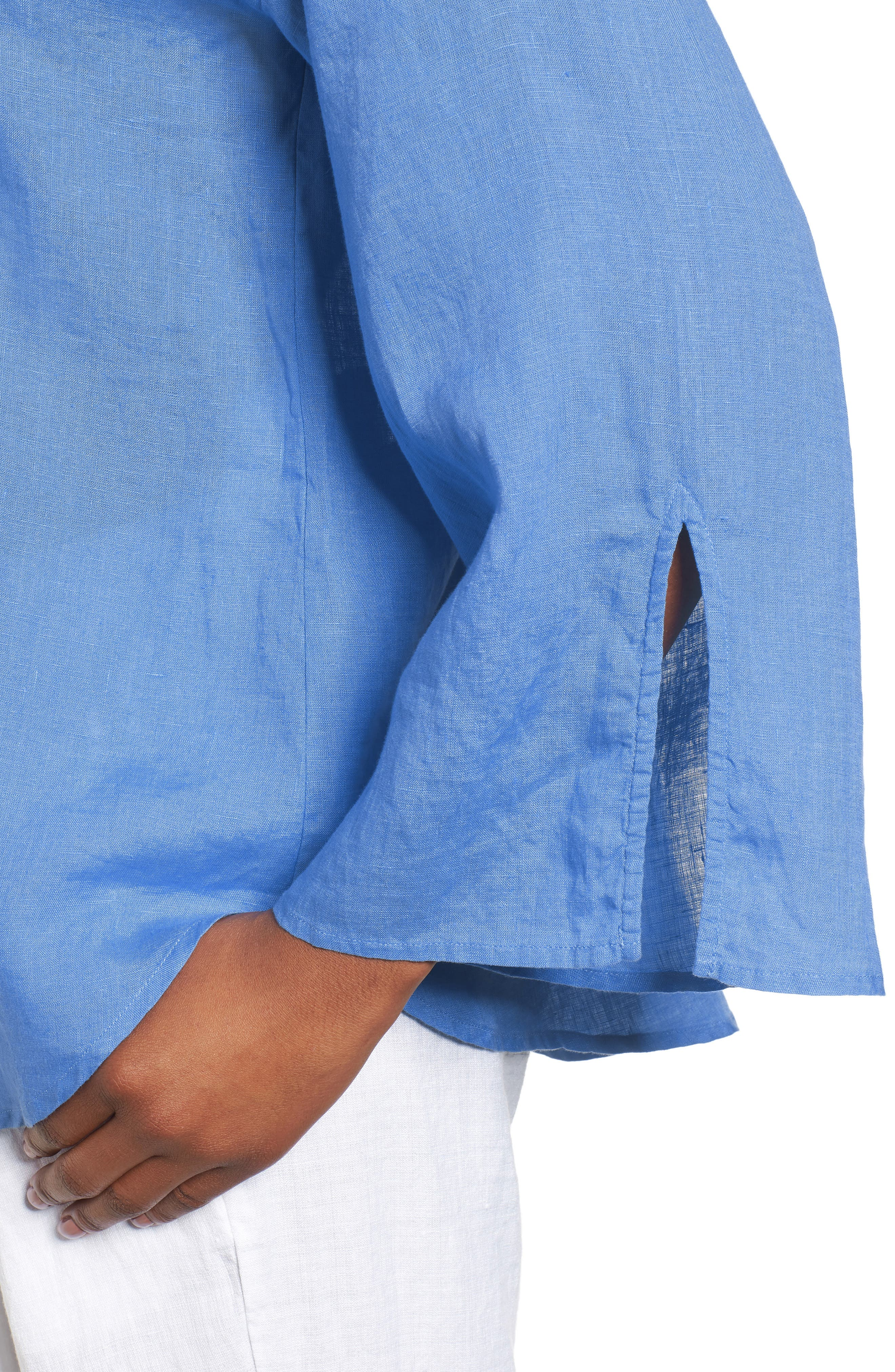 Woven Organic Linen Top,                             Alternate thumbnail 4, color,                             Bluebell