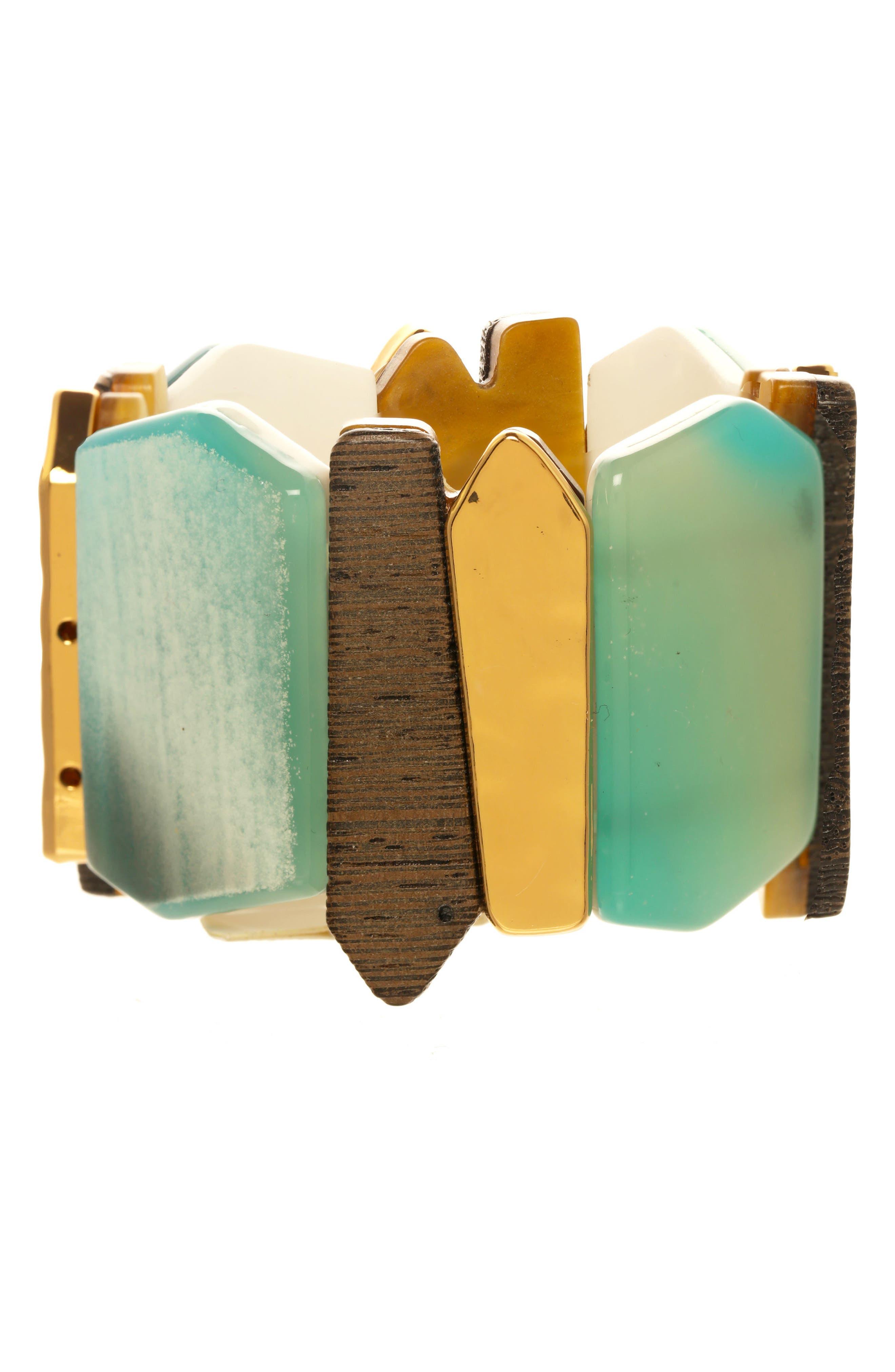 Mixed Media Bracelet,                         Main,                         color, Green