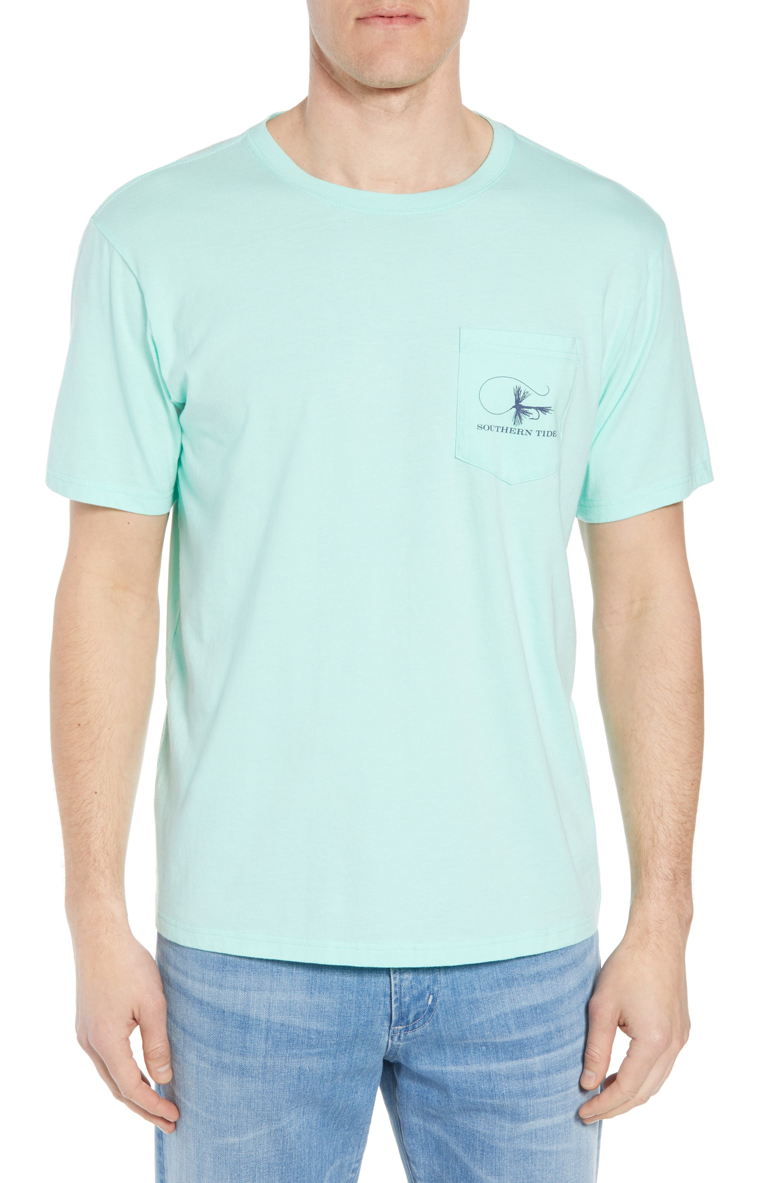 Fly Fishing Regular Fit Pocket T-Shirt,                         Main,                         color, Offshore Green