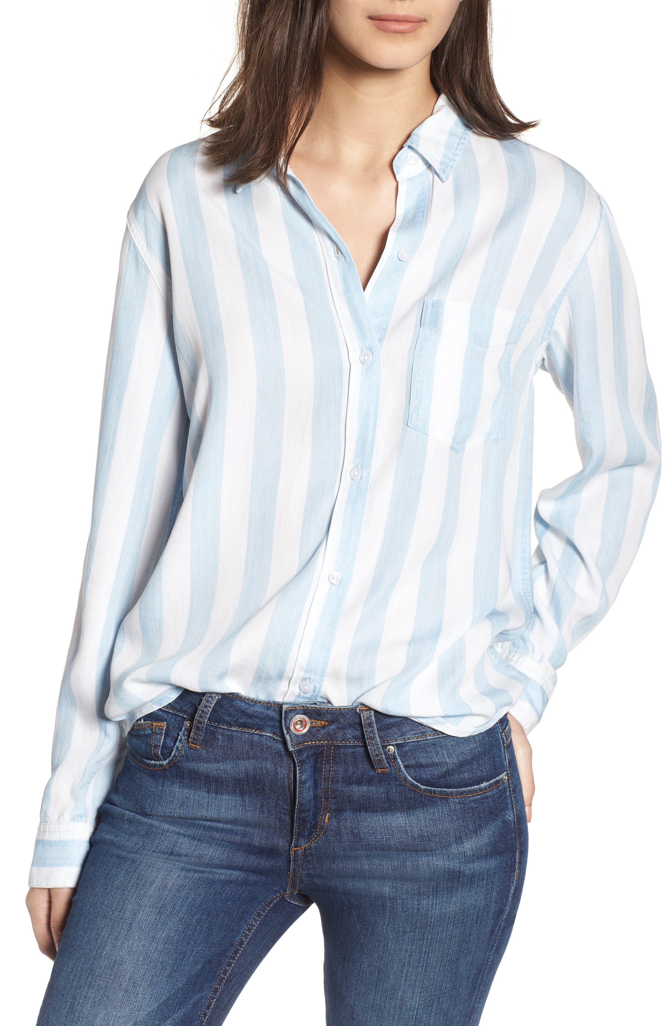 Ingrid Stripe Chambray Shirt,                         Main,                         color, Block Stripe