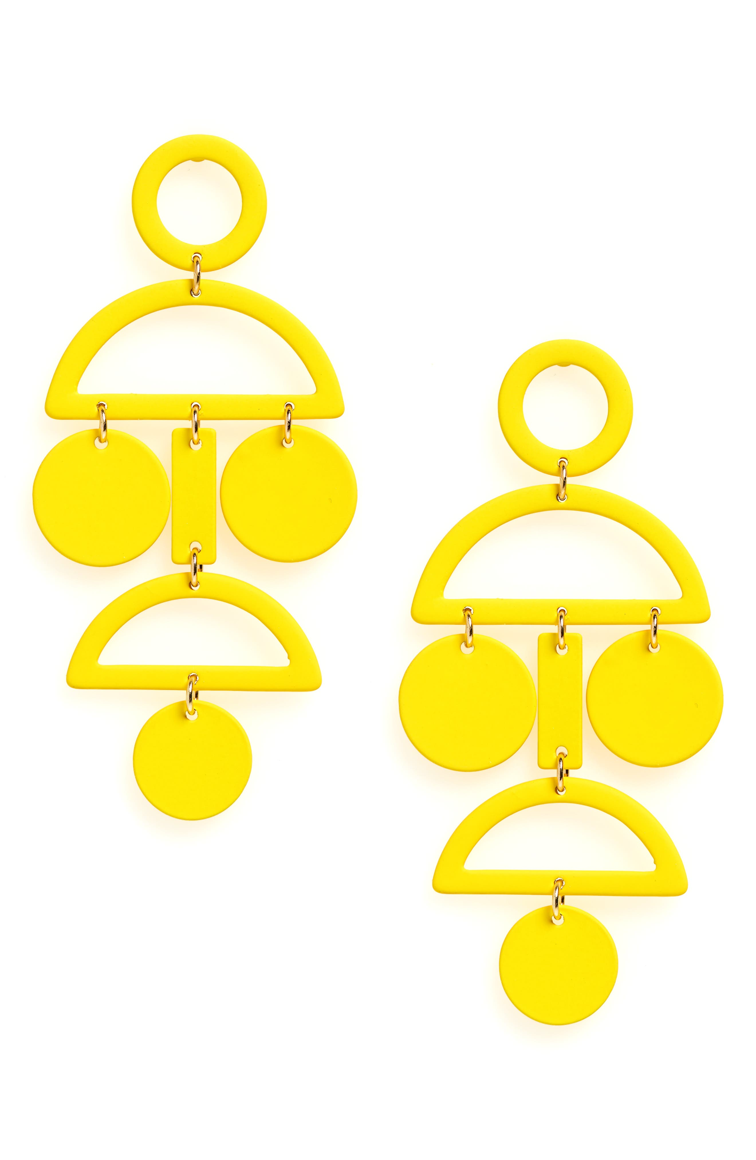 Geo Statement Earrings,                             Main thumbnail 1, color,                             Yellow