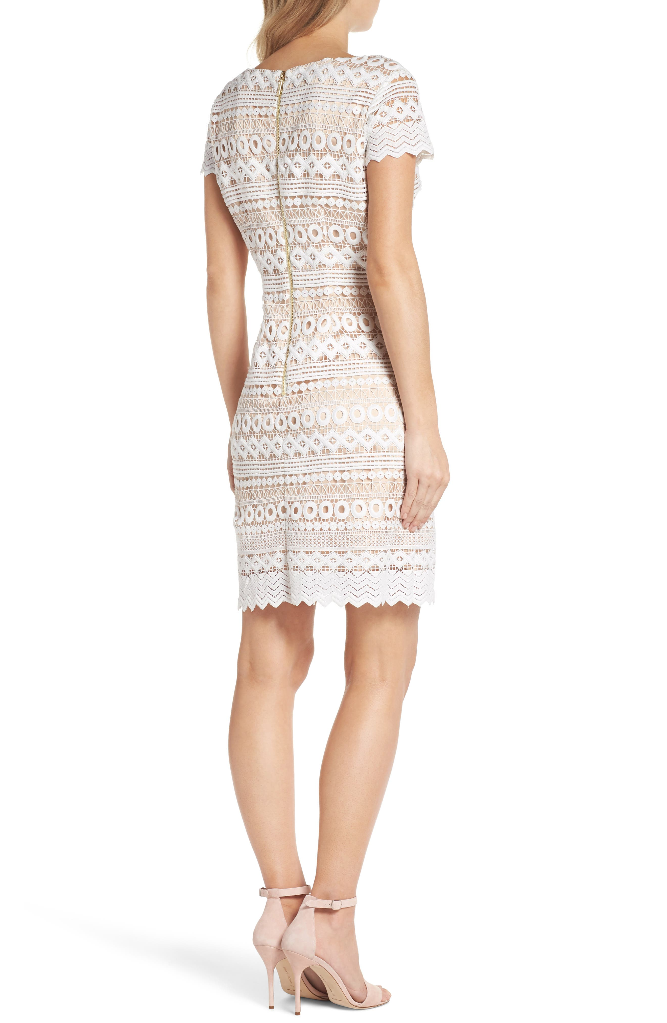 Geo Lace Sheath Dress,                             Alternate thumbnail 2, color,                             Ivory
