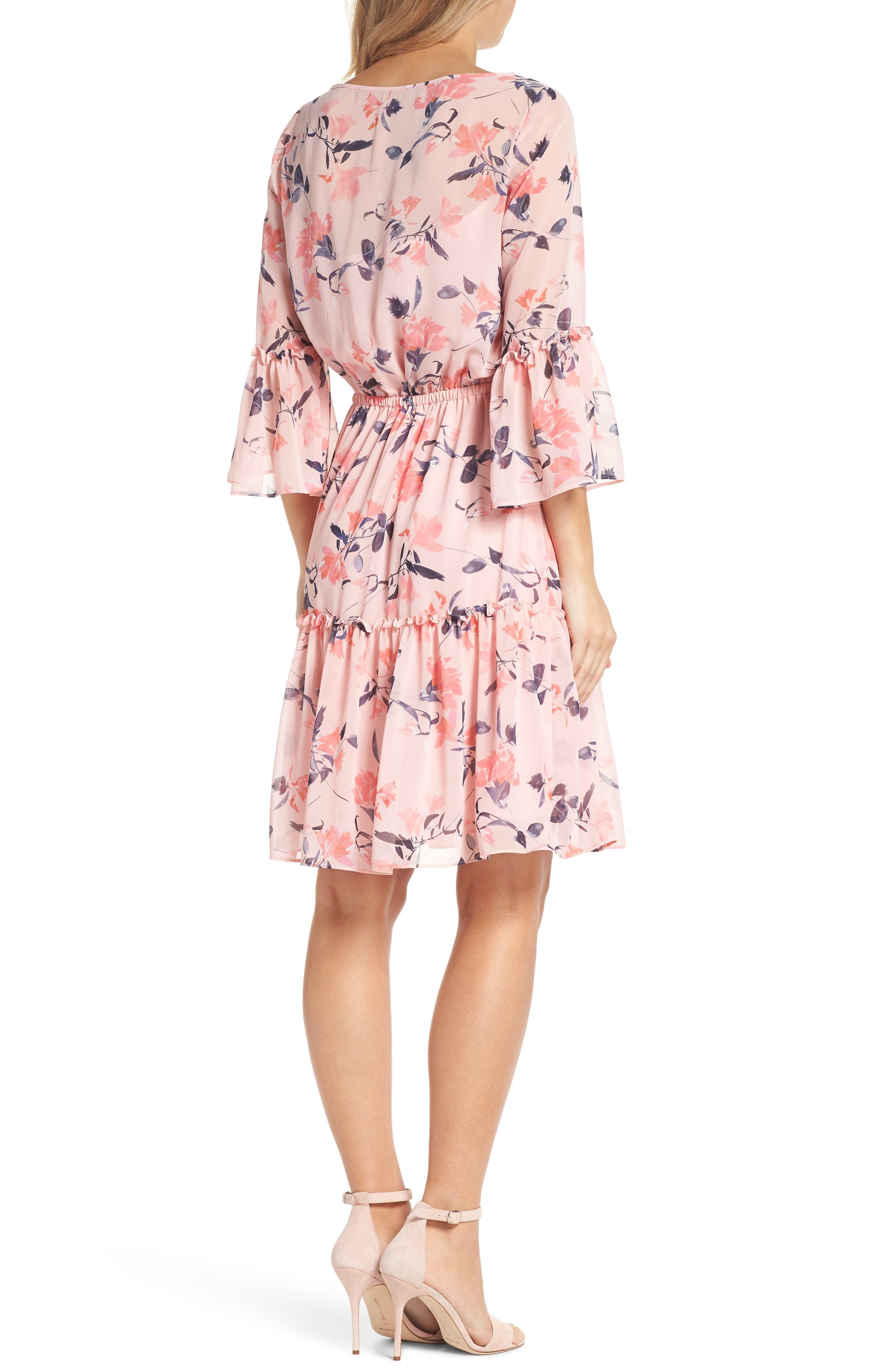 Floral Bell Sleeve Chiffon Dress,                             Alternate thumbnail 2, color,                             Blush