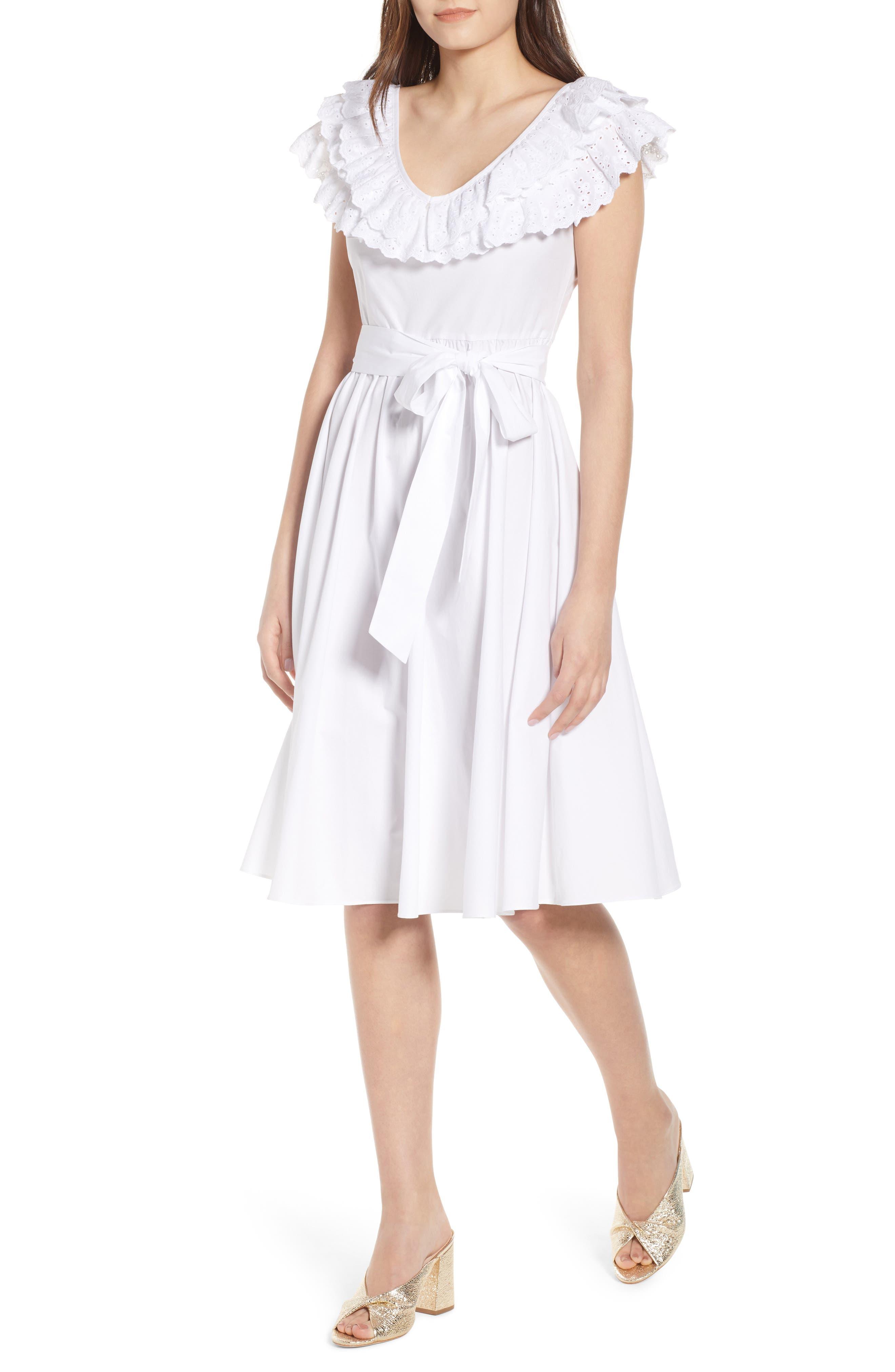 Ruffle Eyelet Dress,                             Main thumbnail 1, color,                             White