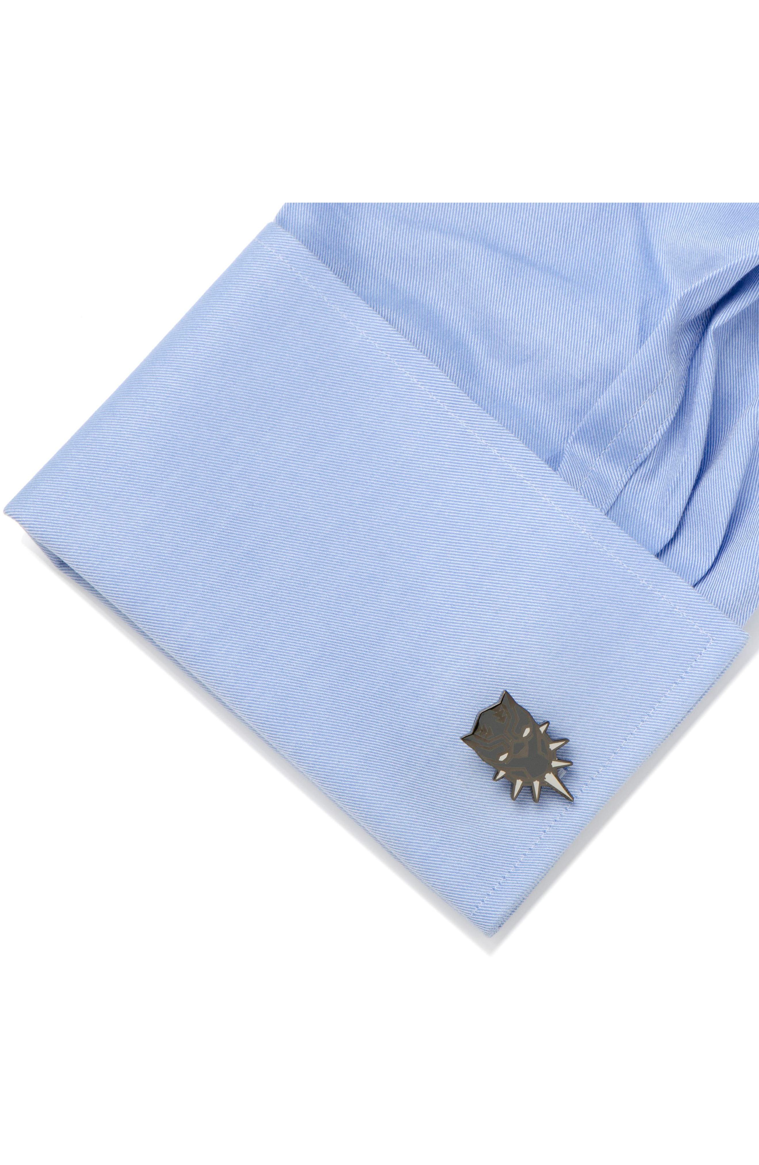 Black Panther Cuff Links,                             Alternate thumbnail 3, color,                             Black