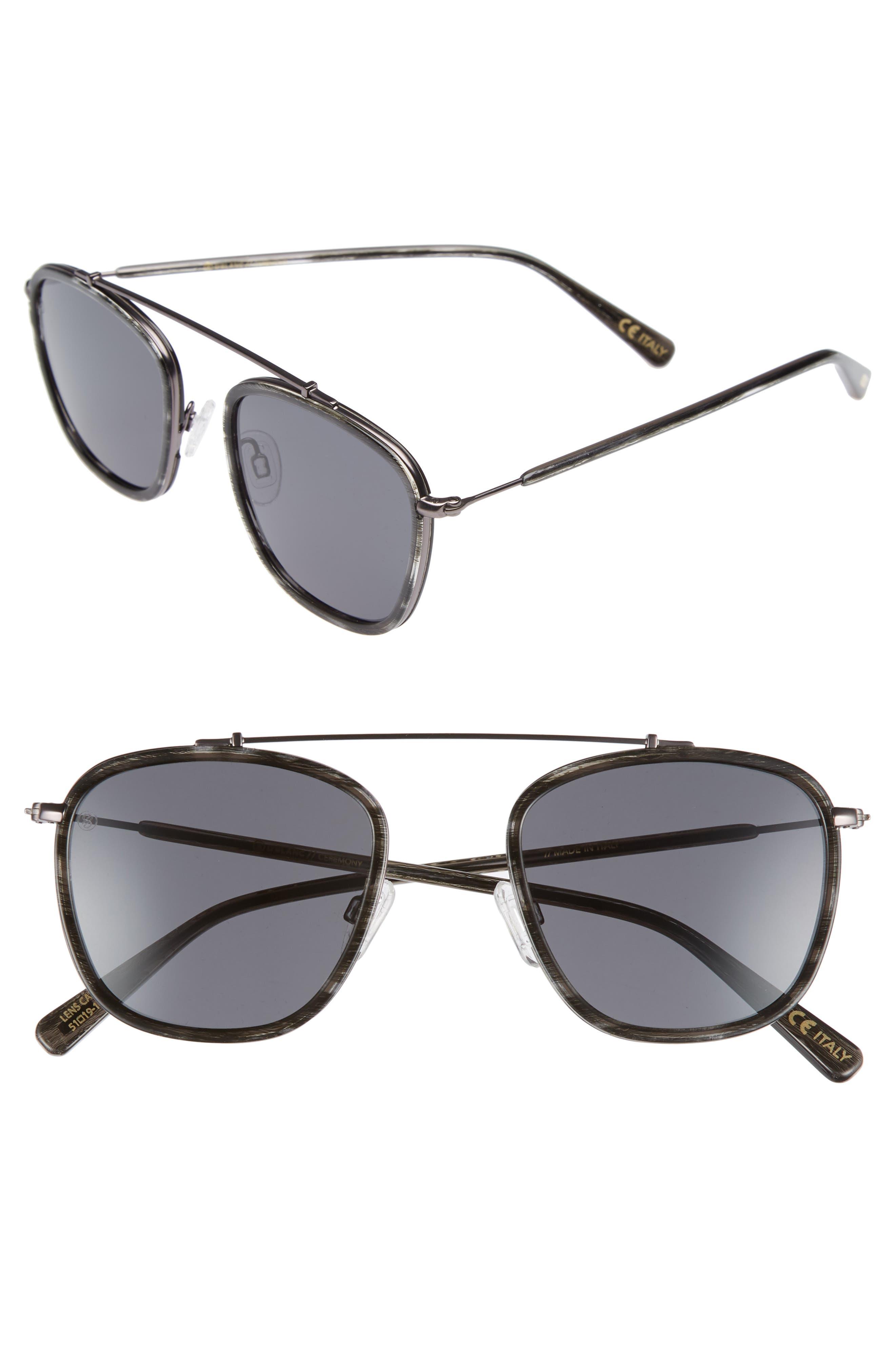 D'BLANC Ceremony 51mm Square Sunglasses,                             Main thumbnail 1, color,                             Charcoal Etch/ Grey