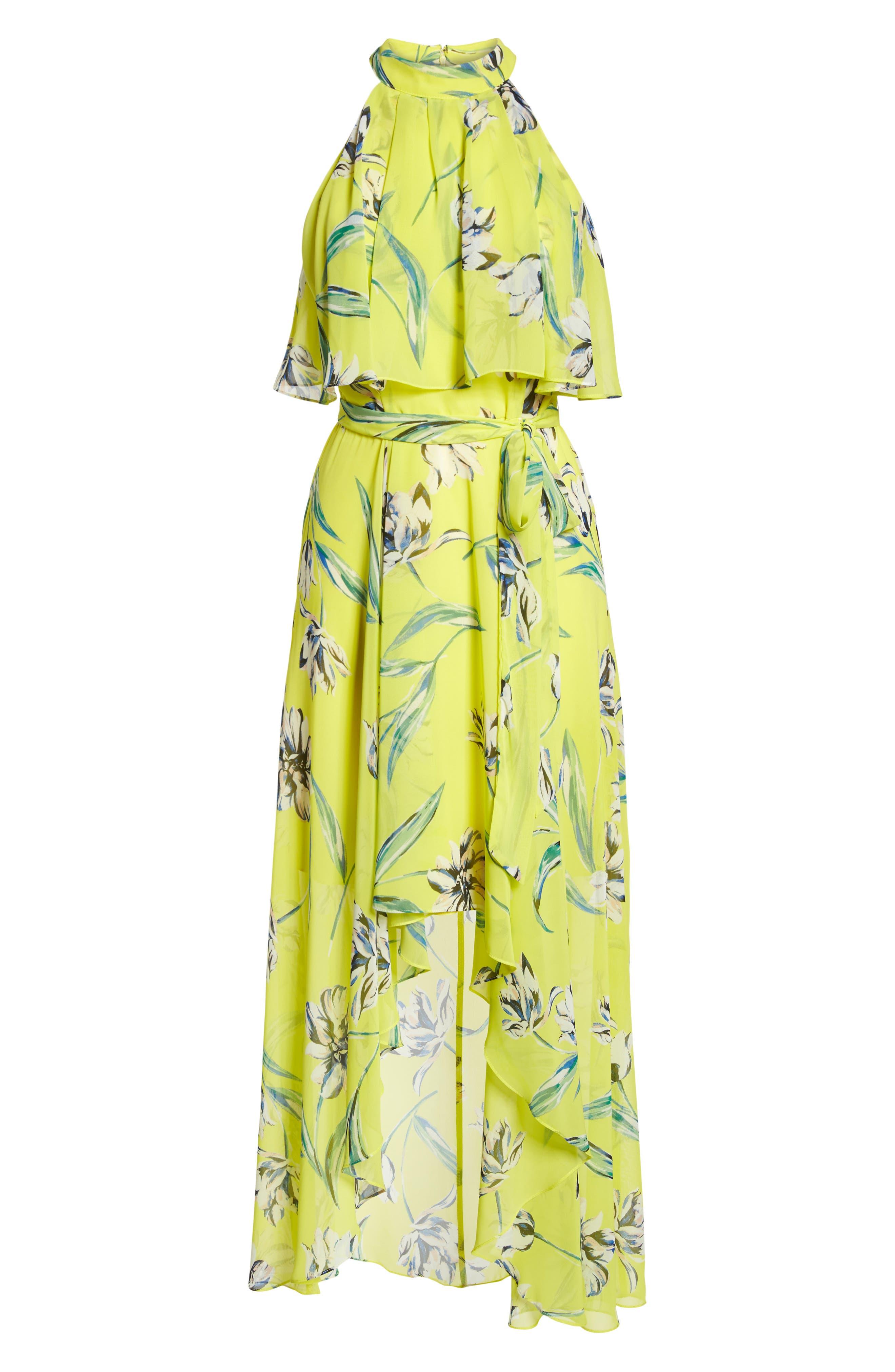 Halter Neck Chiffon Maxi Dress,                             Alternate thumbnail 7, color,                             Yellow