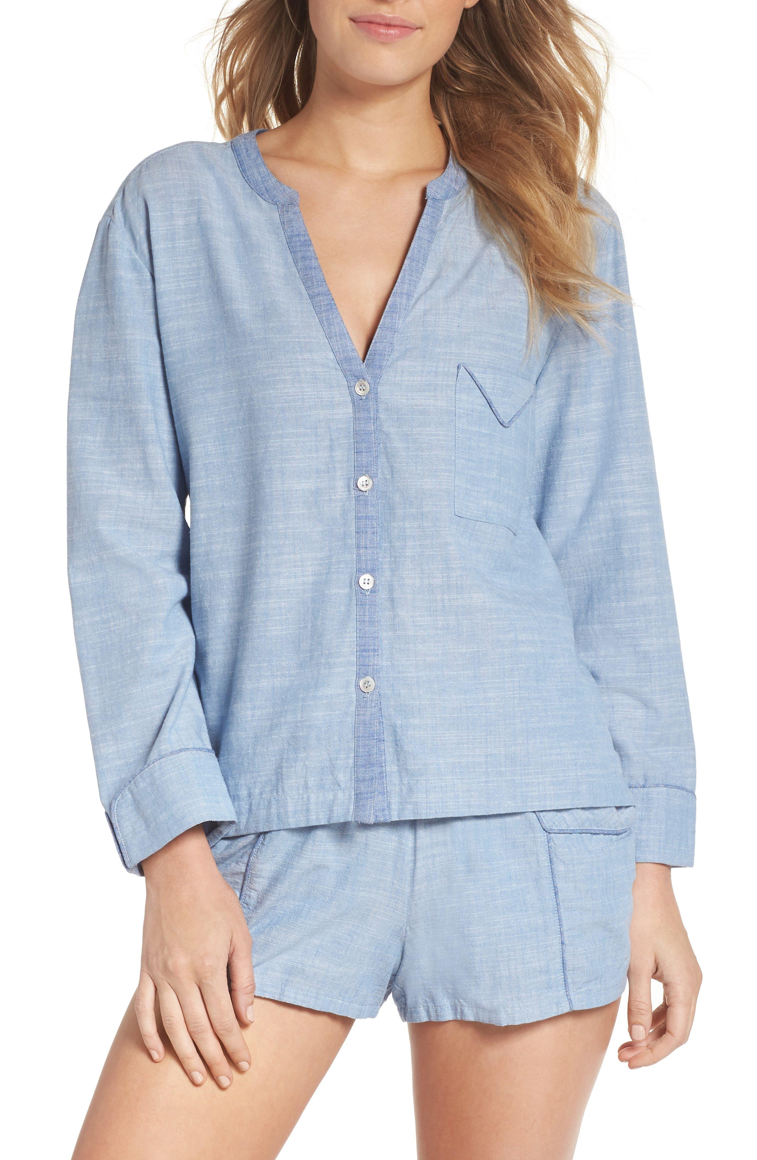 Jayne Pajama Top,                         Main,                         color, Light Chambray