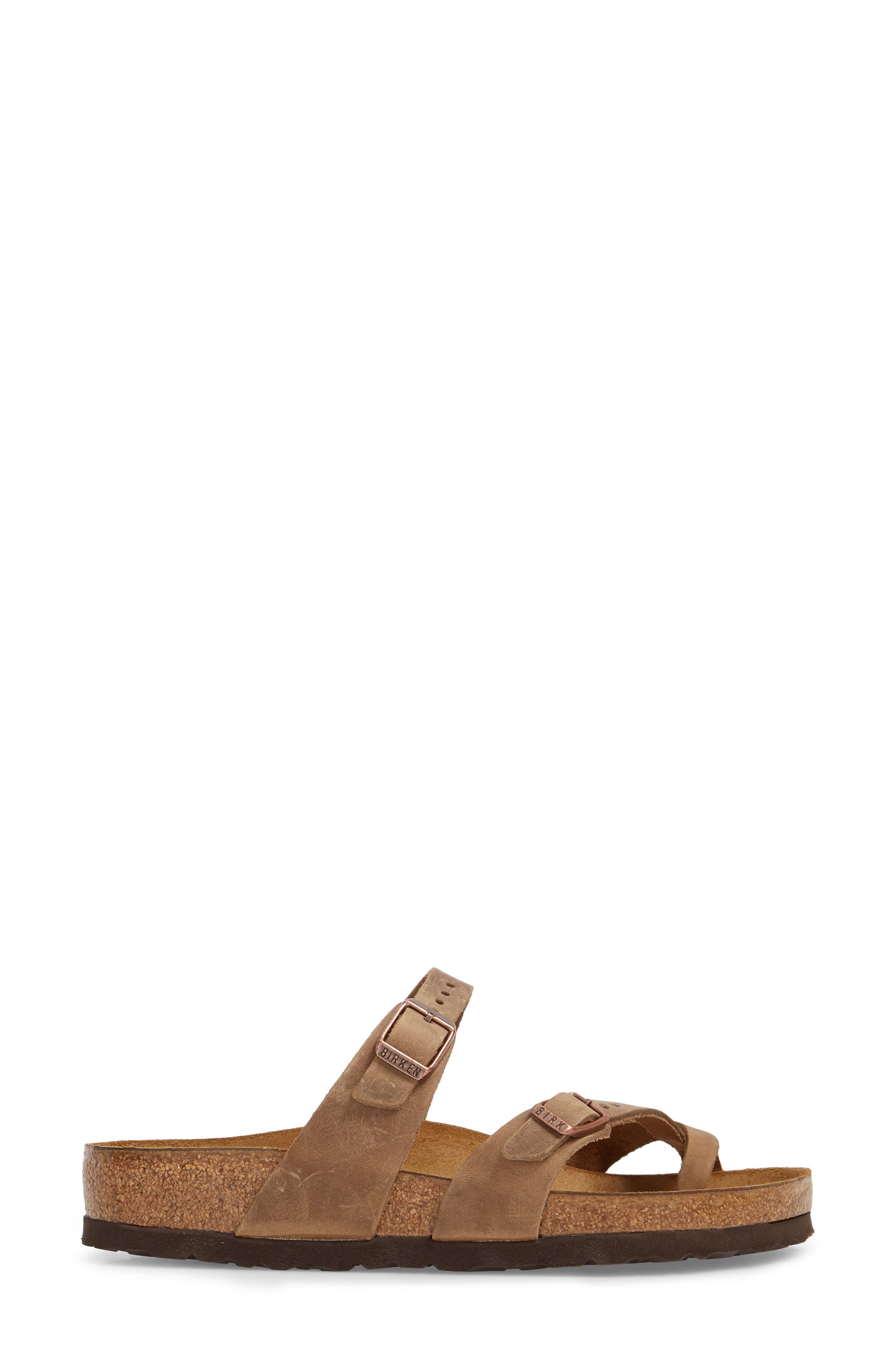 Mayari Slide Sandal,                             Alternate thumbnail 3, color,                             Tobacco Oiled Leather