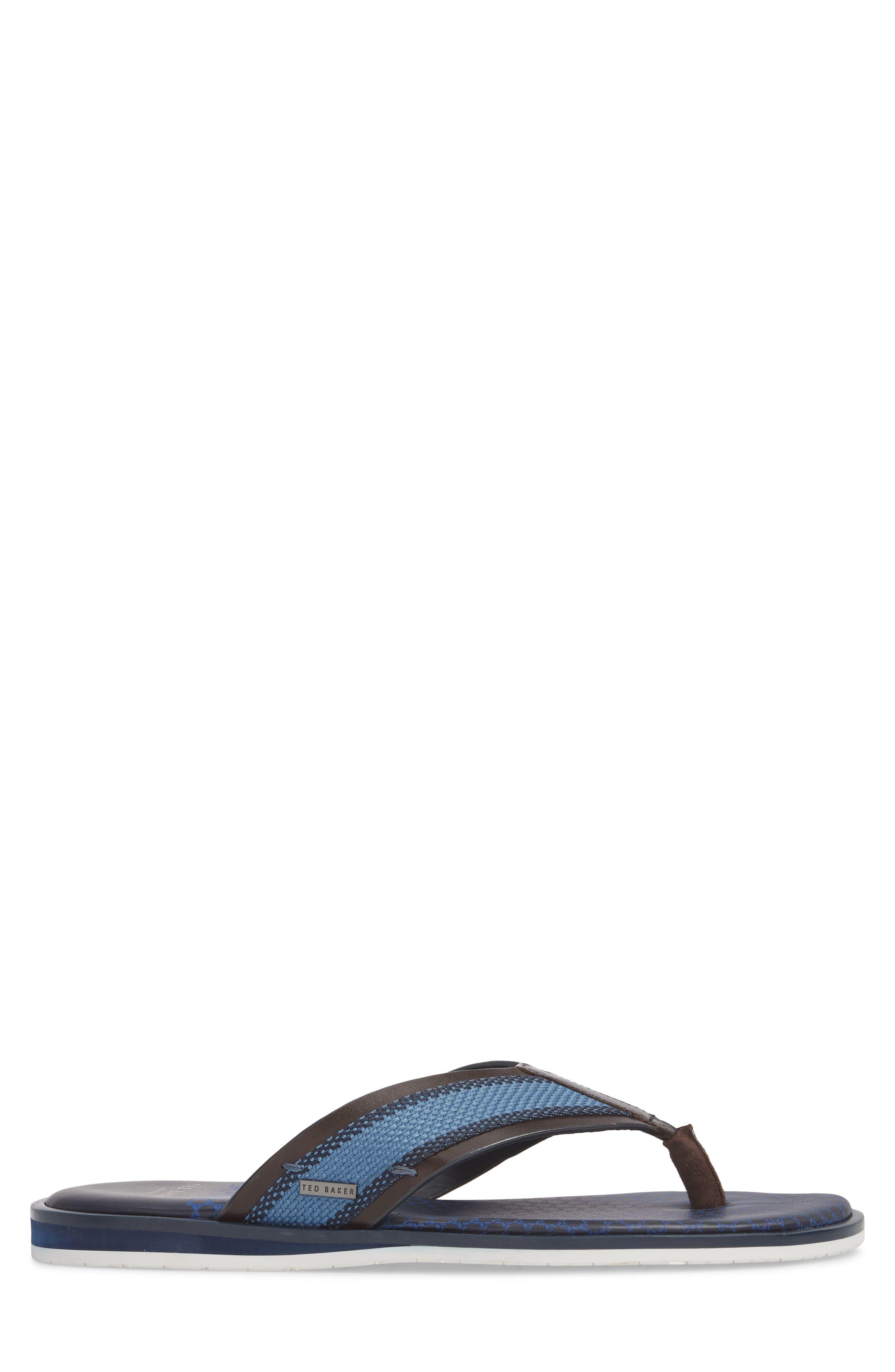 Knowlun Flip Flop,                             Alternate thumbnail 3, color,                             Brown Leather/Textile