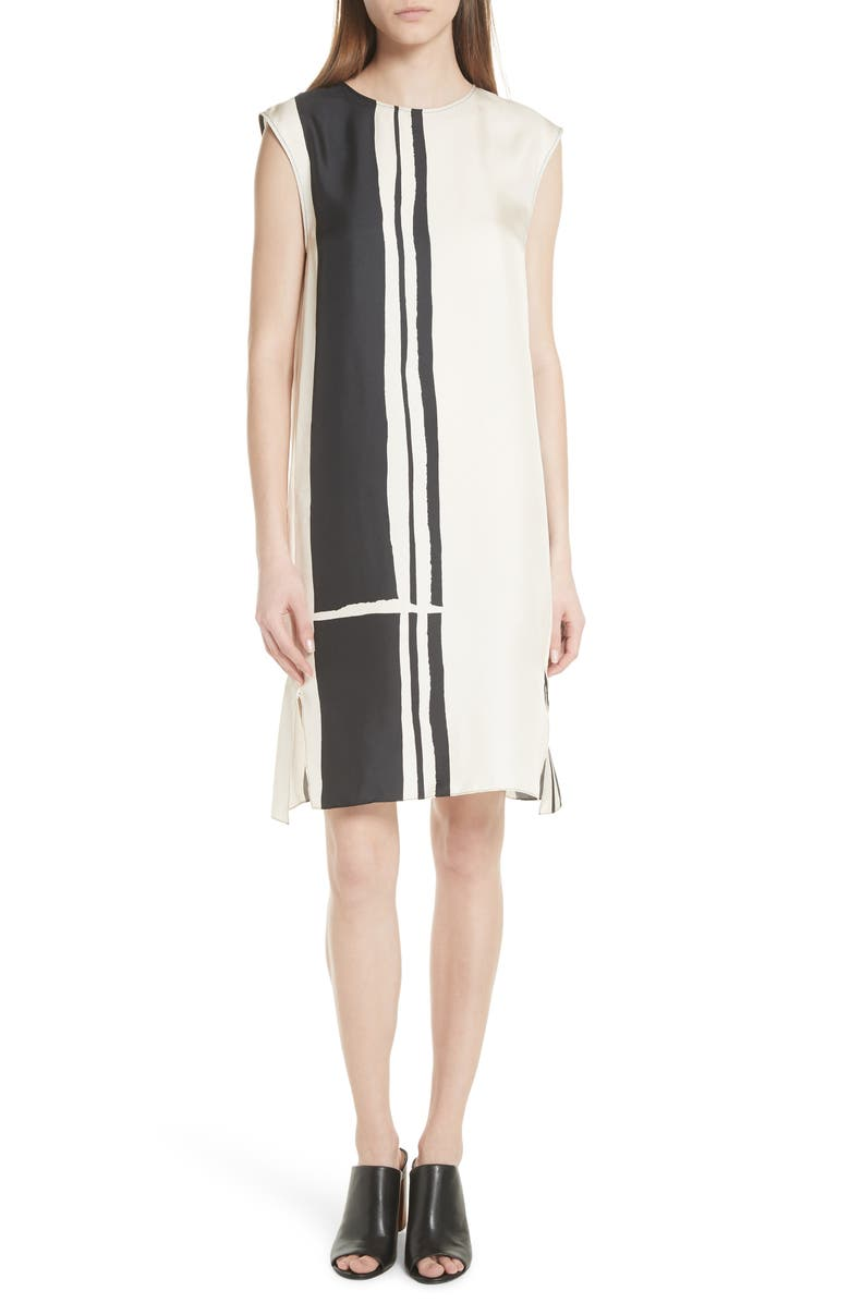 Stripe Silk Twill Shift Dress