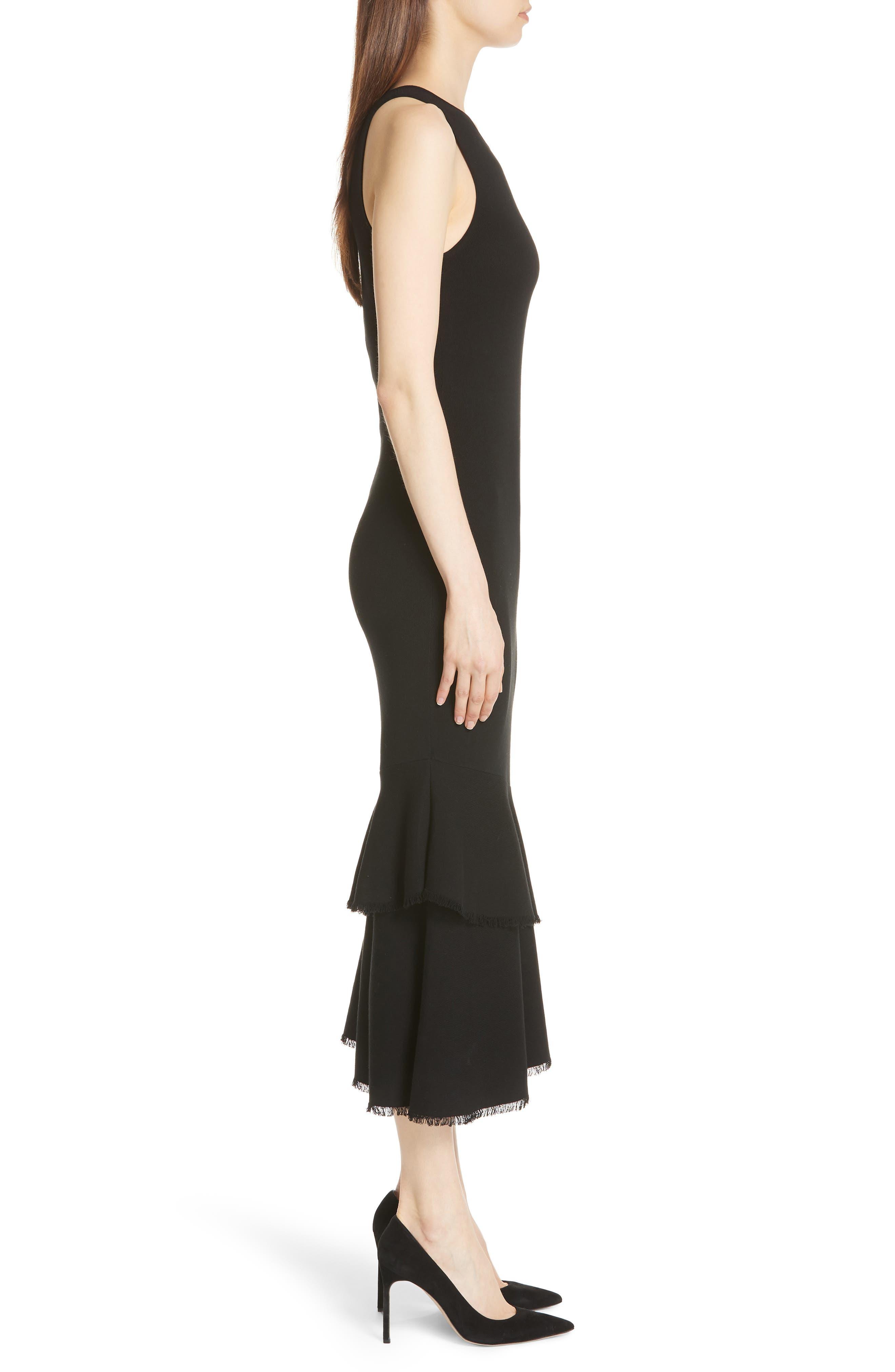 Nilimary Prosecco Midi Dress,                             Alternate thumbnail 3, color,                             Black