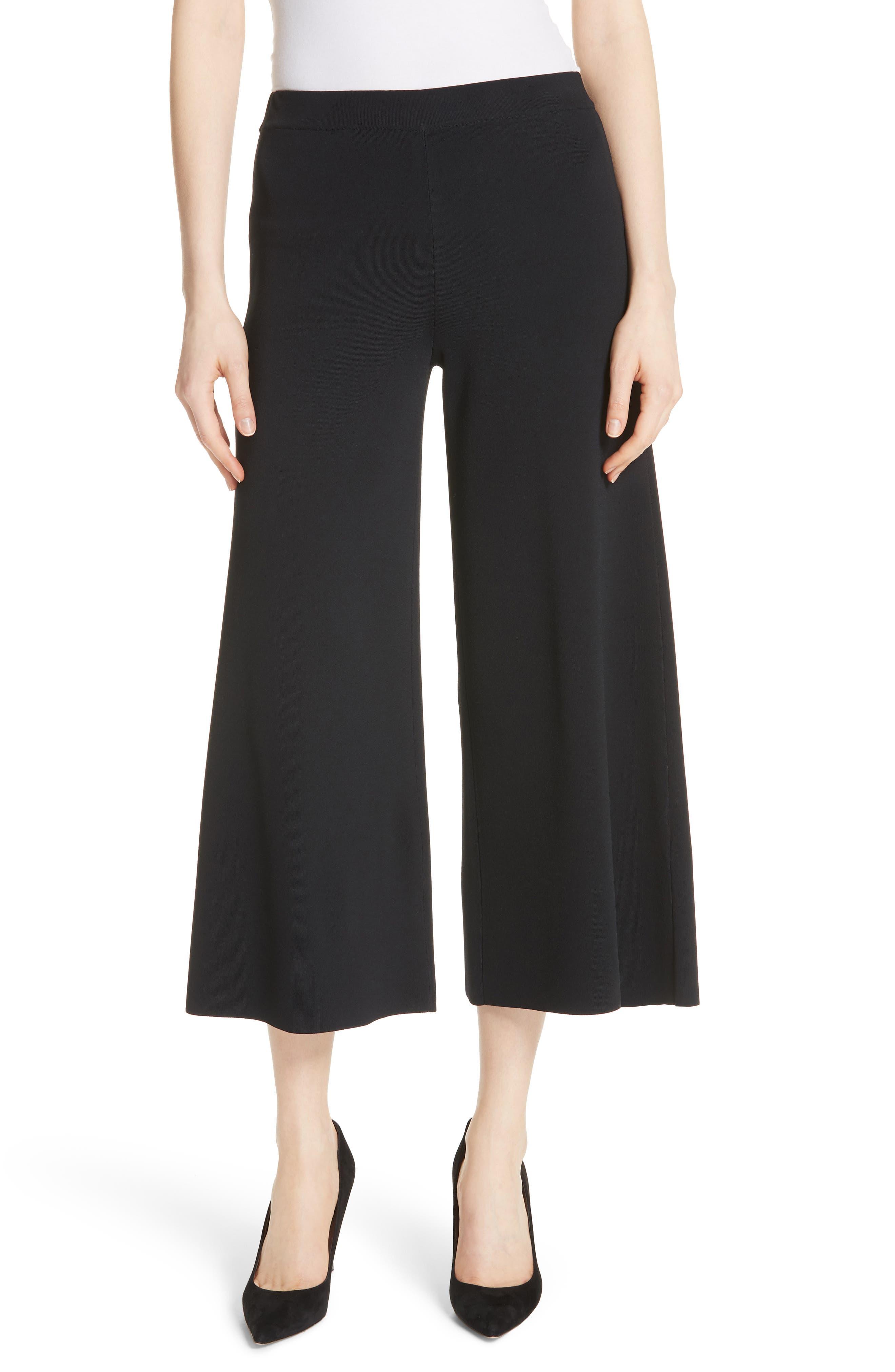 Henriet K Lustrate Wide Leg Crop Pants,                             Main thumbnail 1, color,                             Black