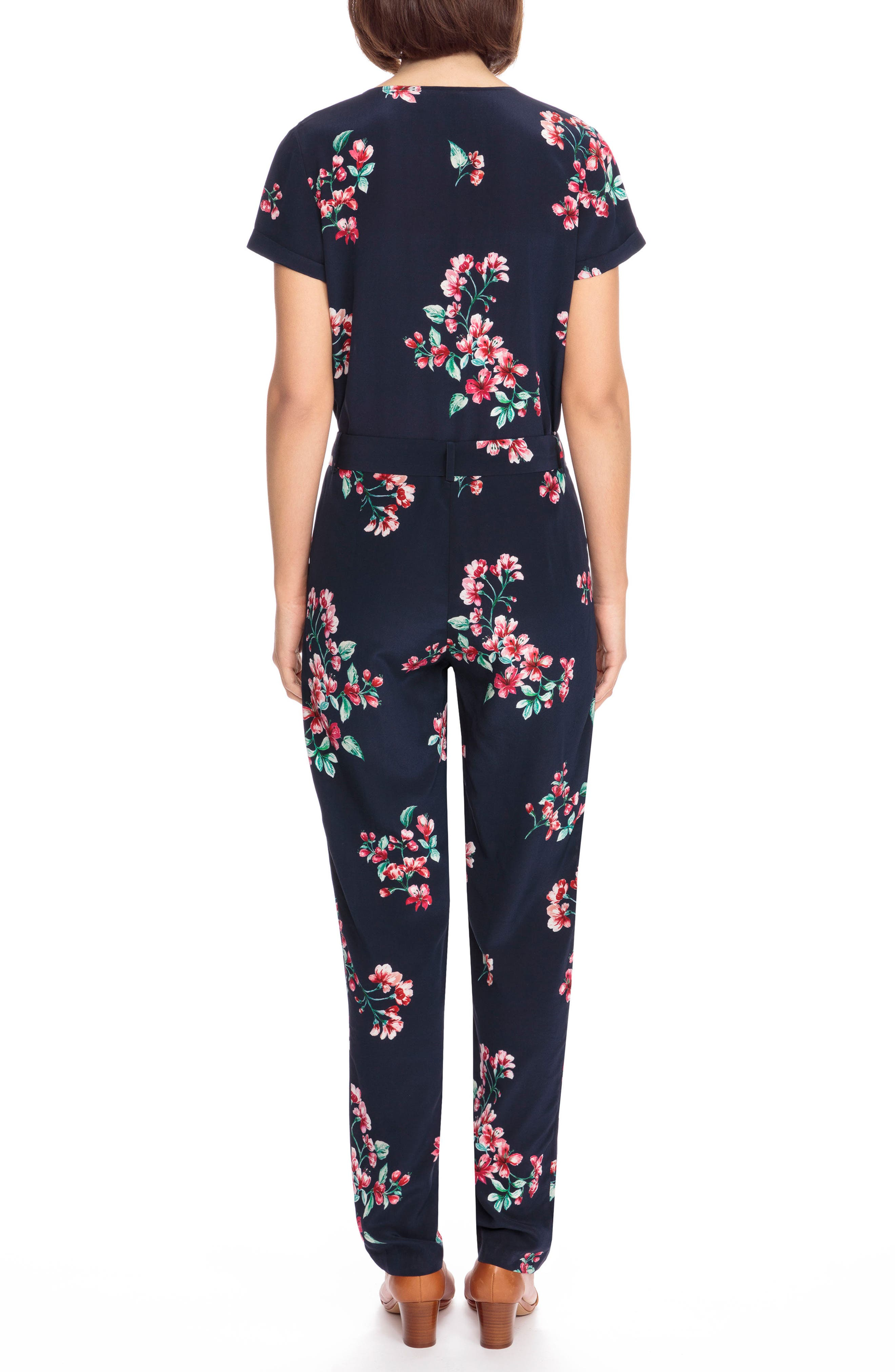 Ava Floral Silk Jumpsuit,                             Alternate thumbnail 3, color,                             Bouquet Print On Navy Blue