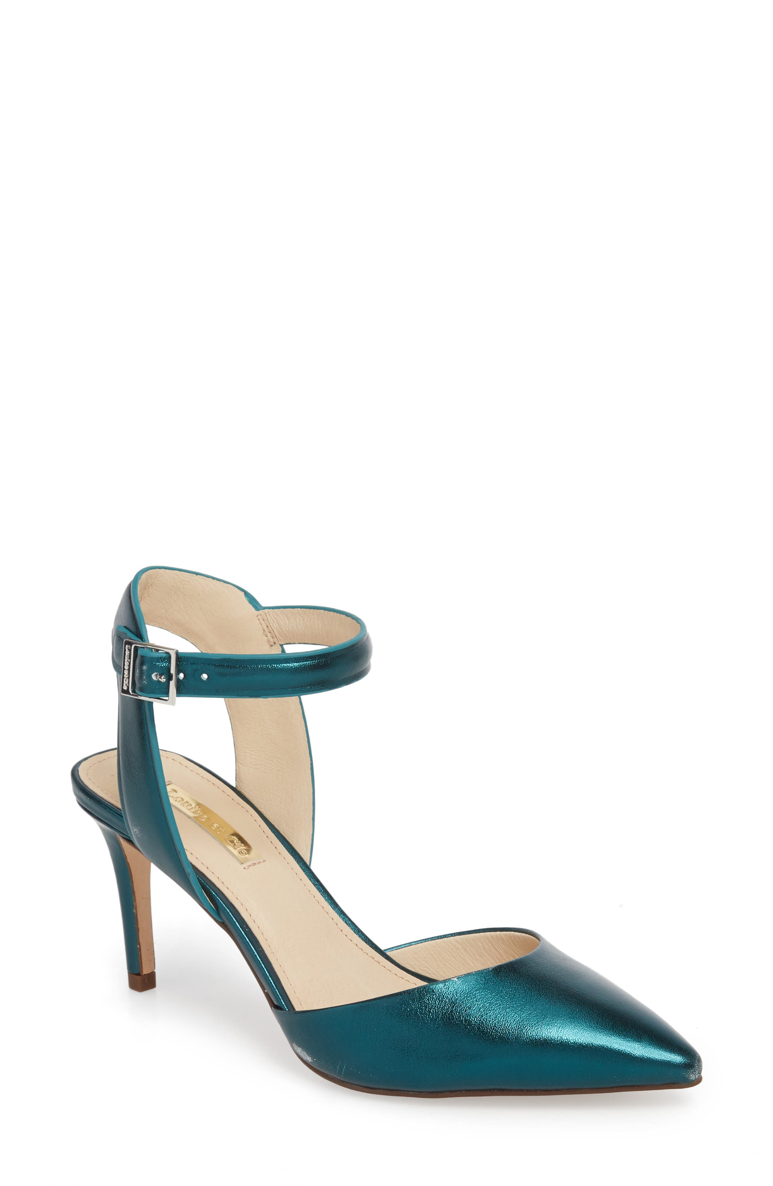 Kota Ankle Strap Pump,                             Main thumbnail 1, color,                             Teal Metallic Leather