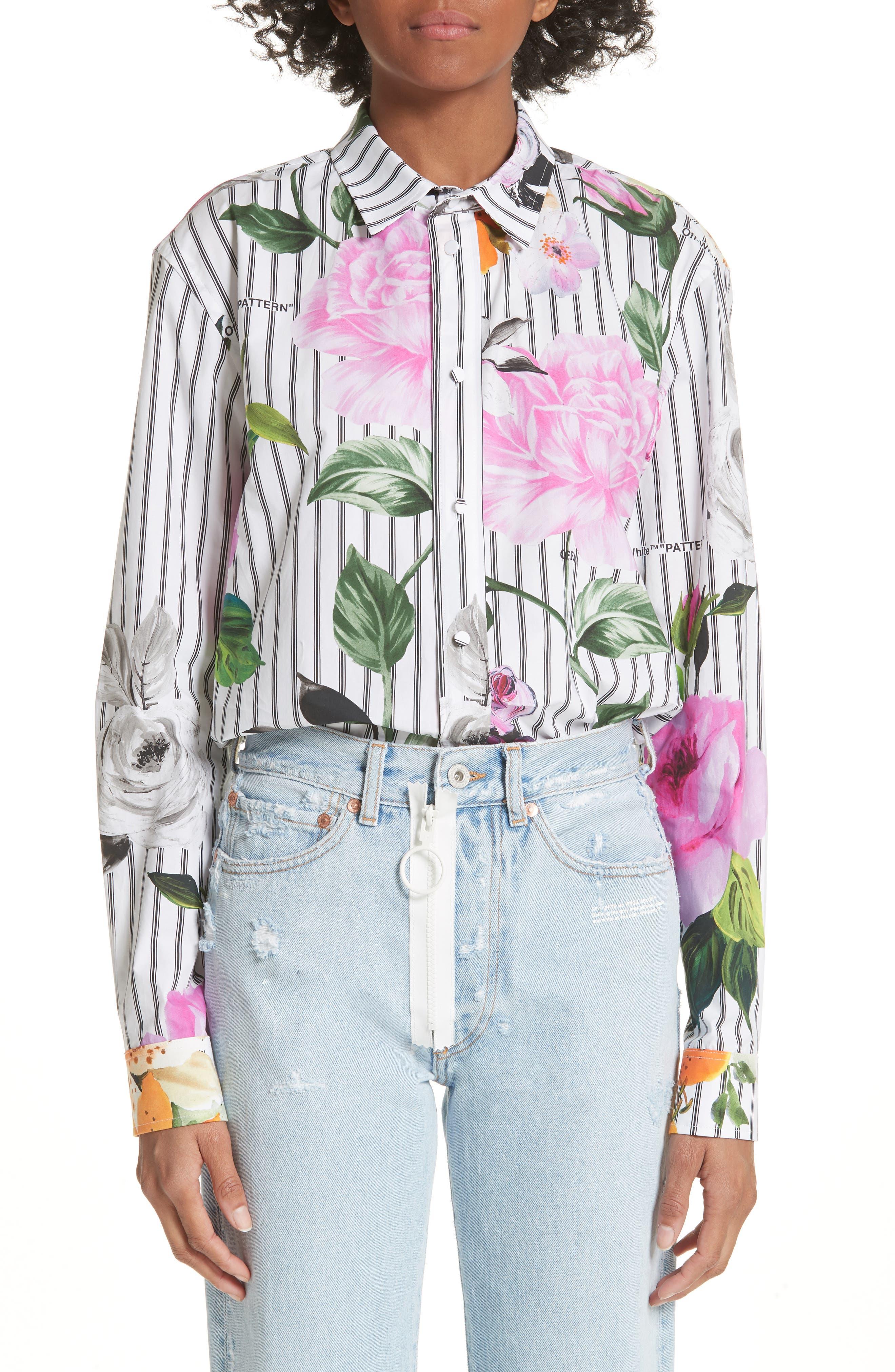 Basic Flower Stripe Shirt,                             Main thumbnail 1, color,                             All Over Black