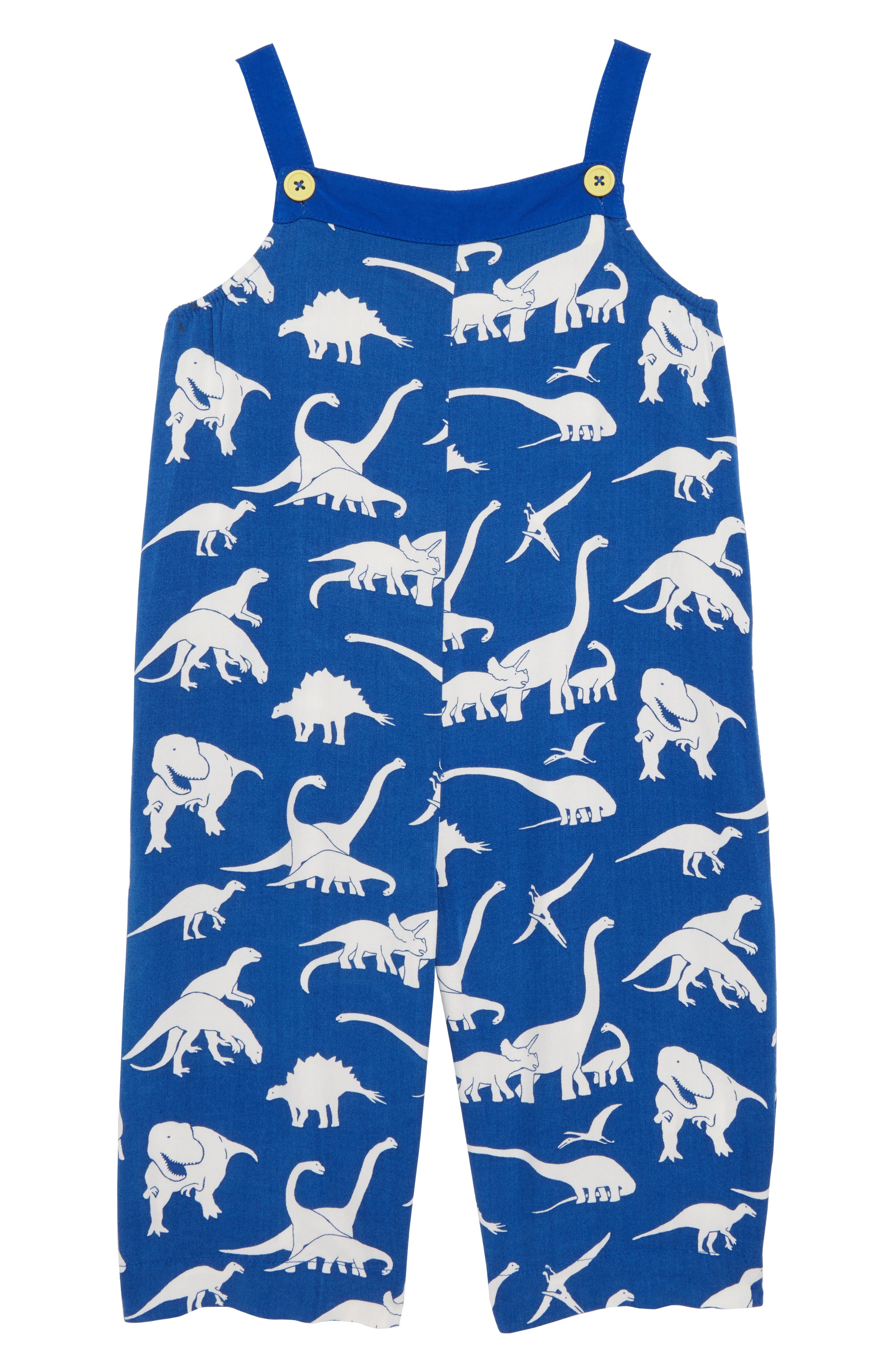 Print Culotte Romper,                             Main thumbnail 1, color,                             Orion Blue Roarsome Friends