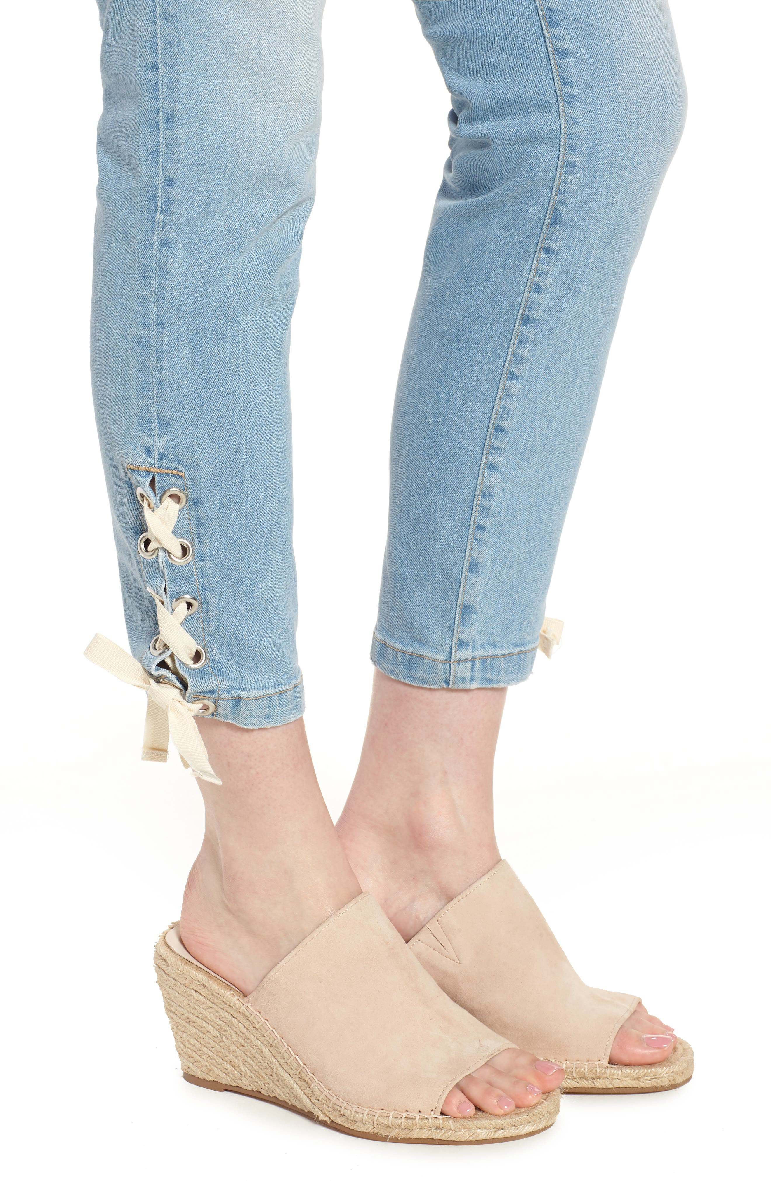 Adriana Laced Ankle Skinny Jeans,                             Alternate thumbnail 4, color,                             Bleach Summer Lace