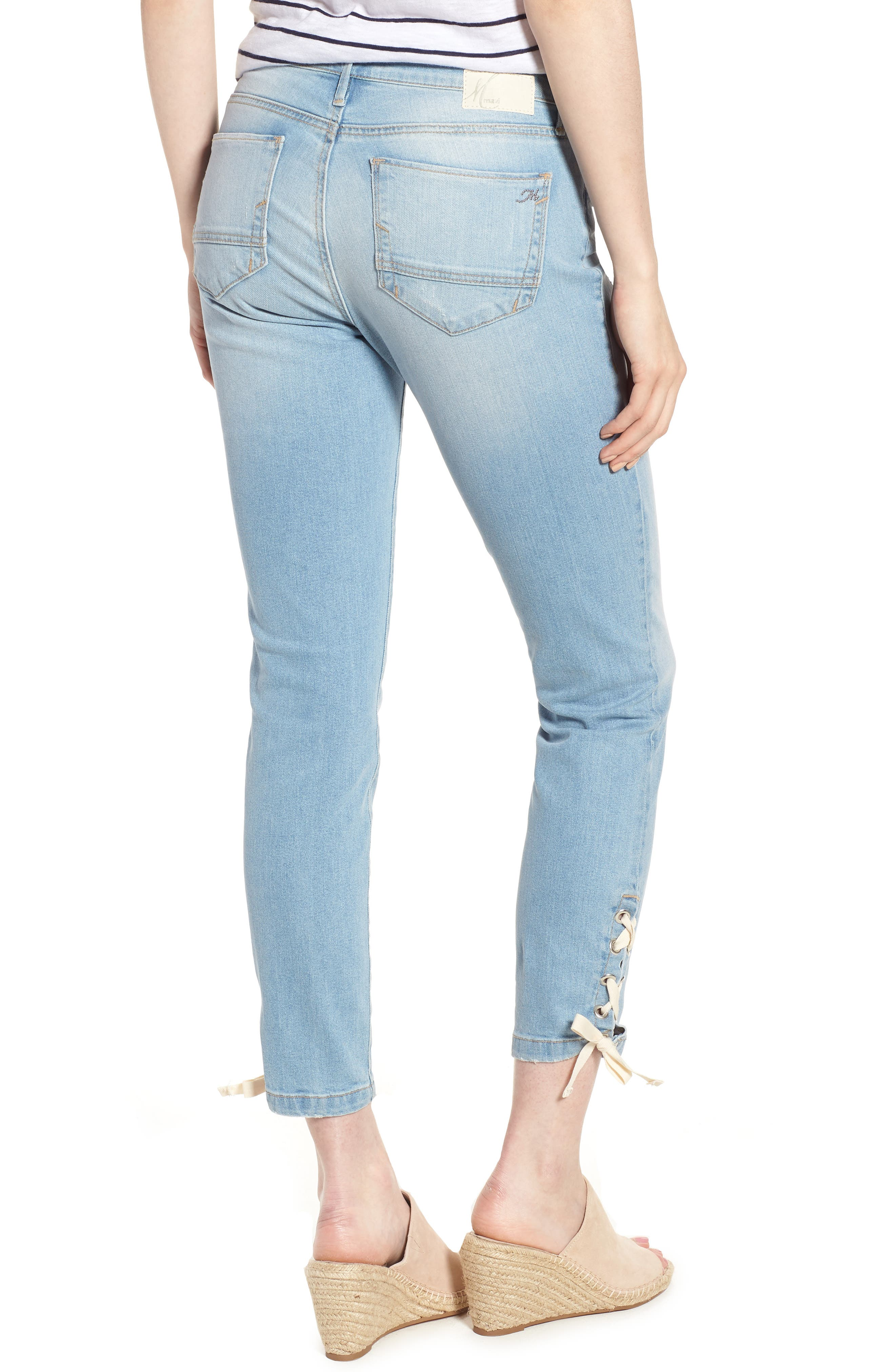 Adriana Laced Ankle Skinny Jeans,                             Alternate thumbnail 2, color,                             Bleach Summer Lace
