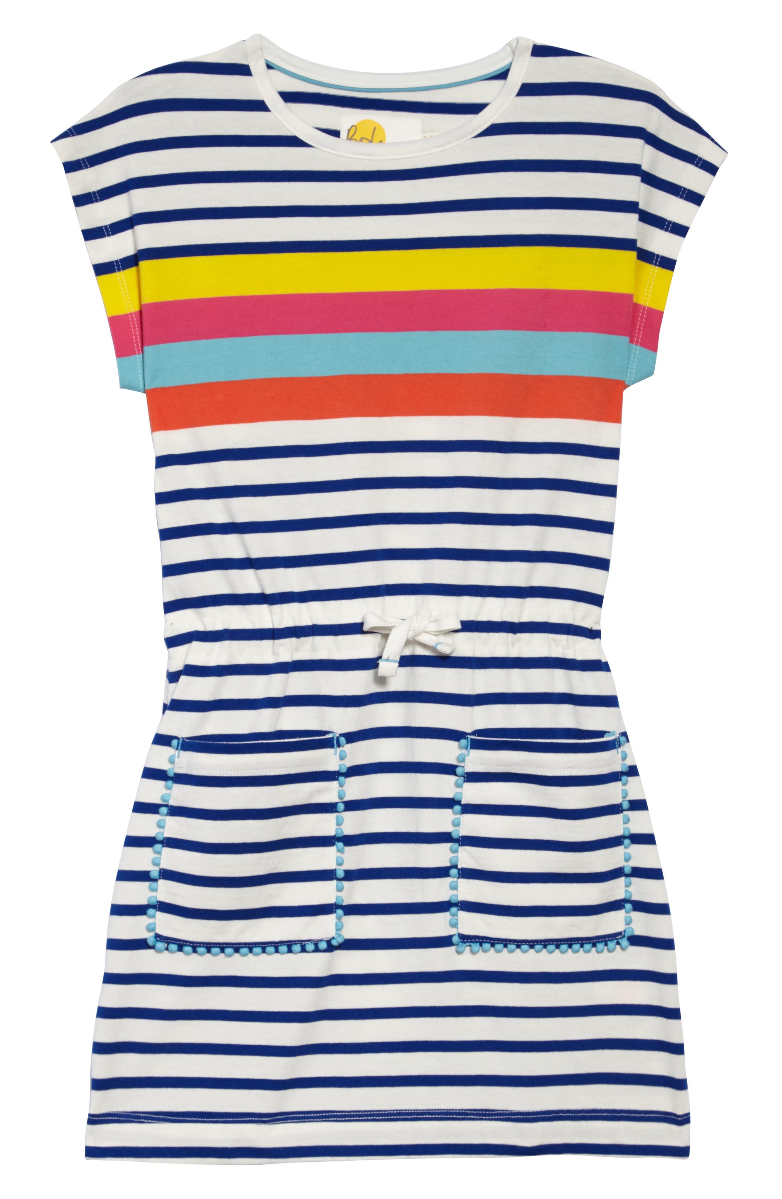 Tie Waist Jersey Dress,                             Main thumbnail 1, color,                             Sunshine Yellow/ Pink Stripe