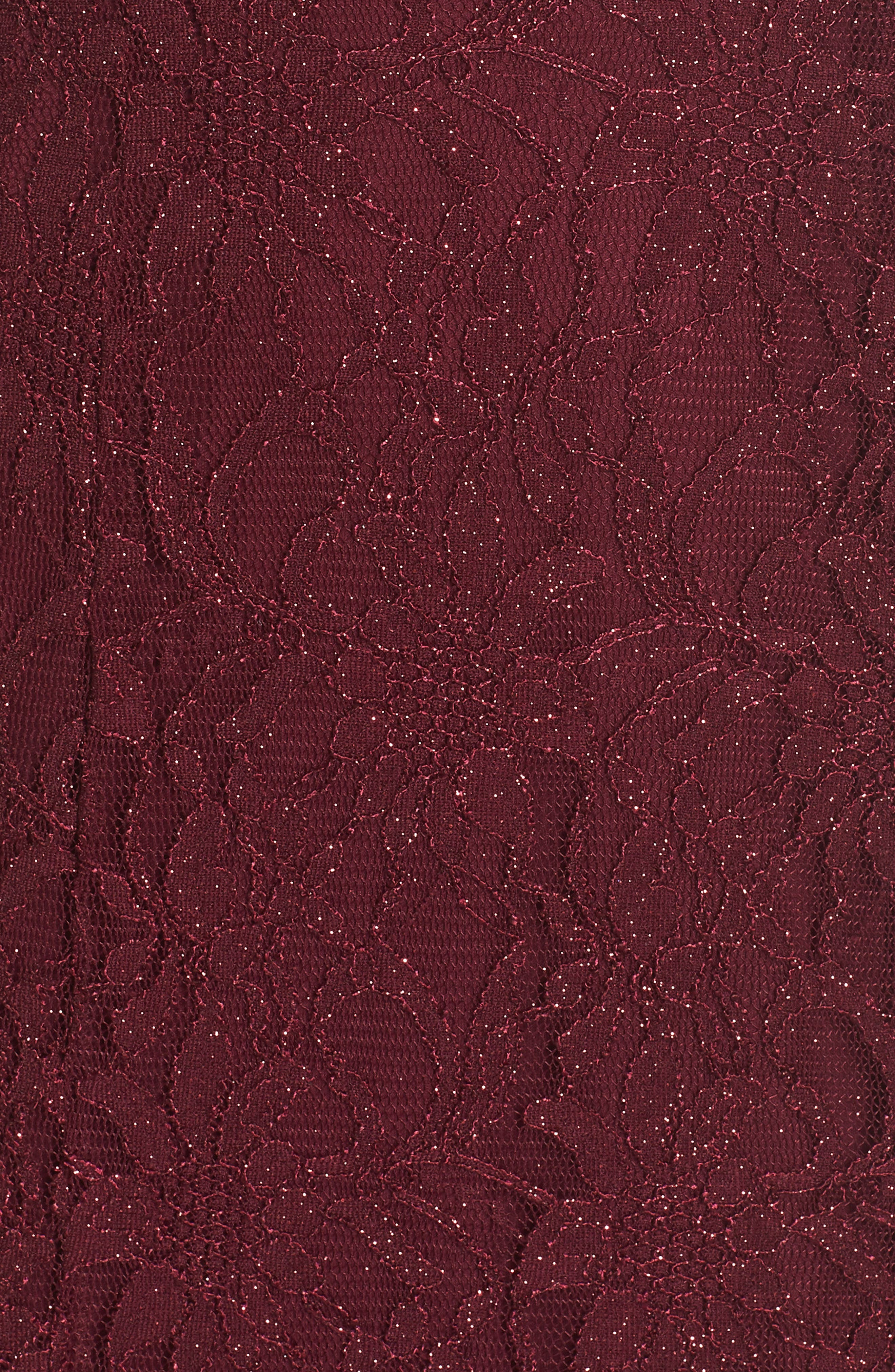 Glitter Lace Gown,                             Alternate thumbnail 5, color,                             Merlot