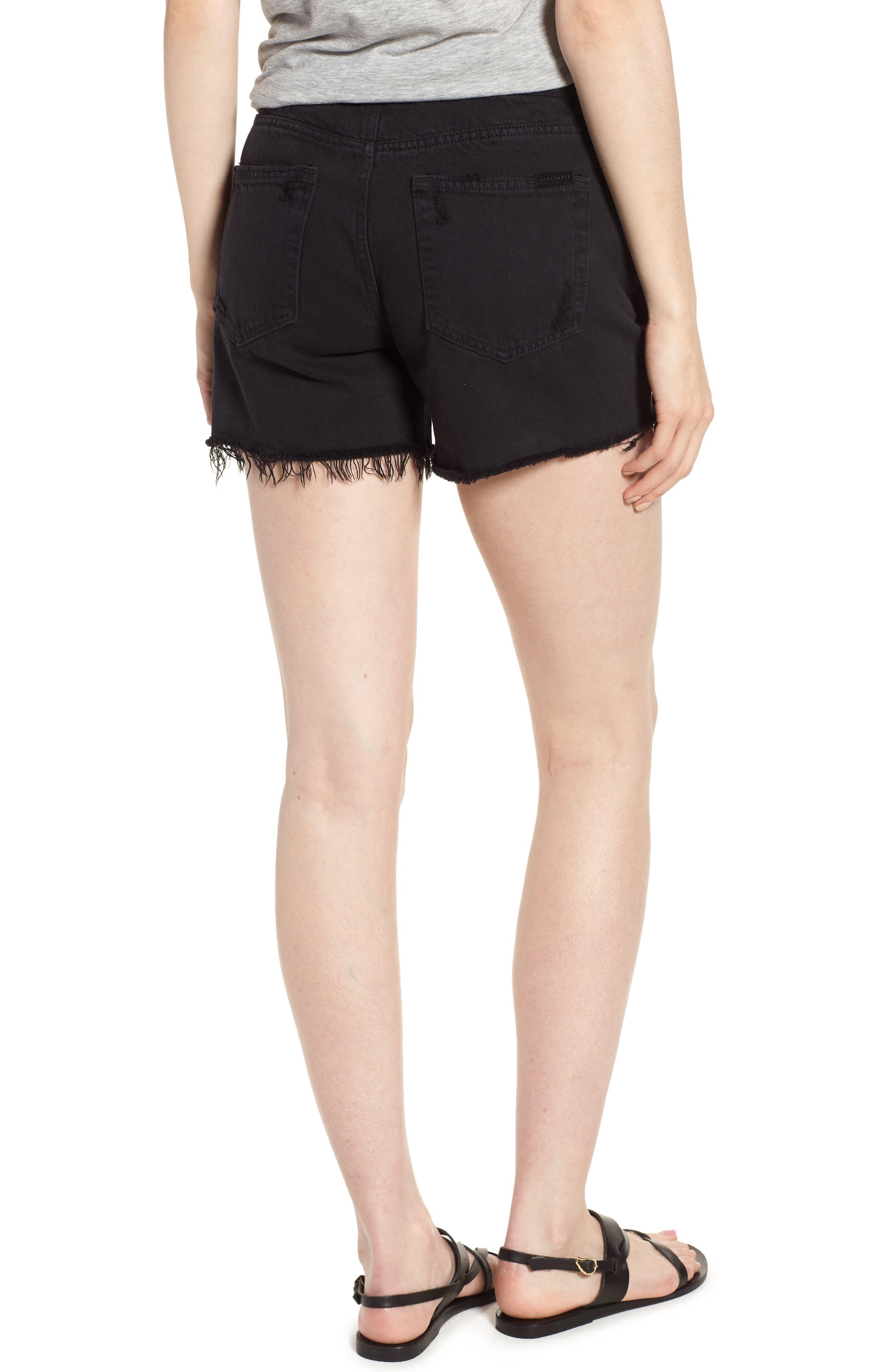Black Midi Fray Shorts,                             Alternate thumbnail 2, color,                             Faded Black