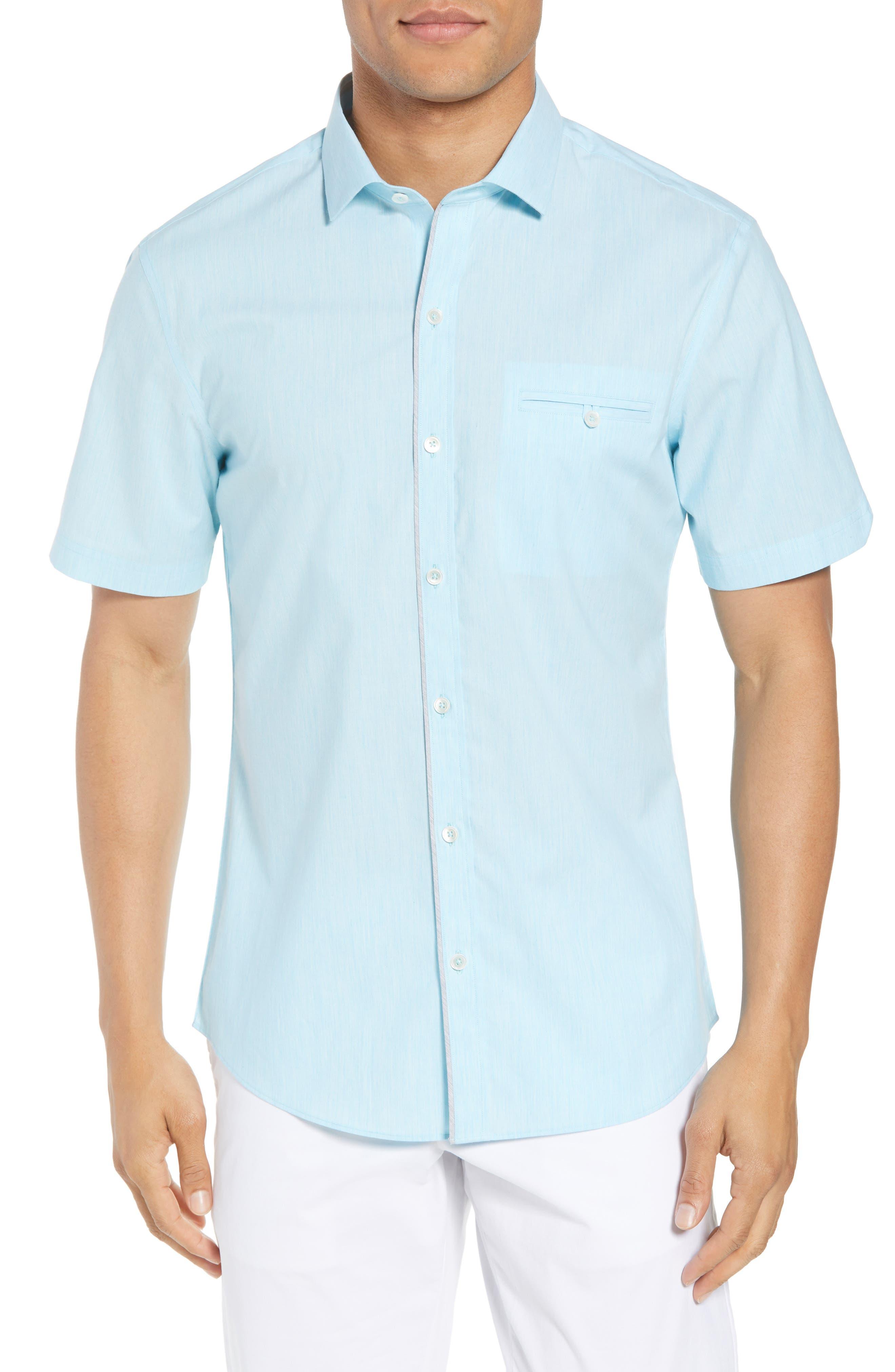 Baumann Slim Fit Sport Shirt,                         Main,                         color, Aqua