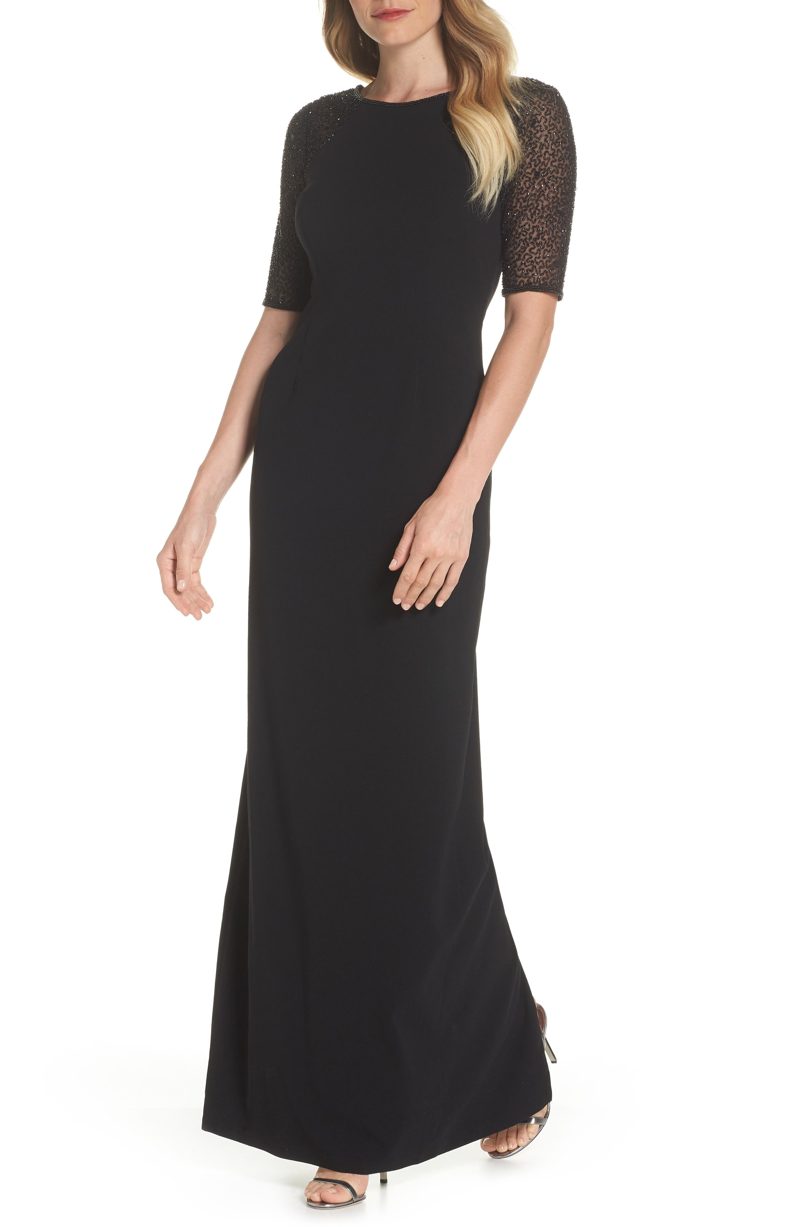 Beaded Column Gown,                             Main thumbnail 1, color,                             Black