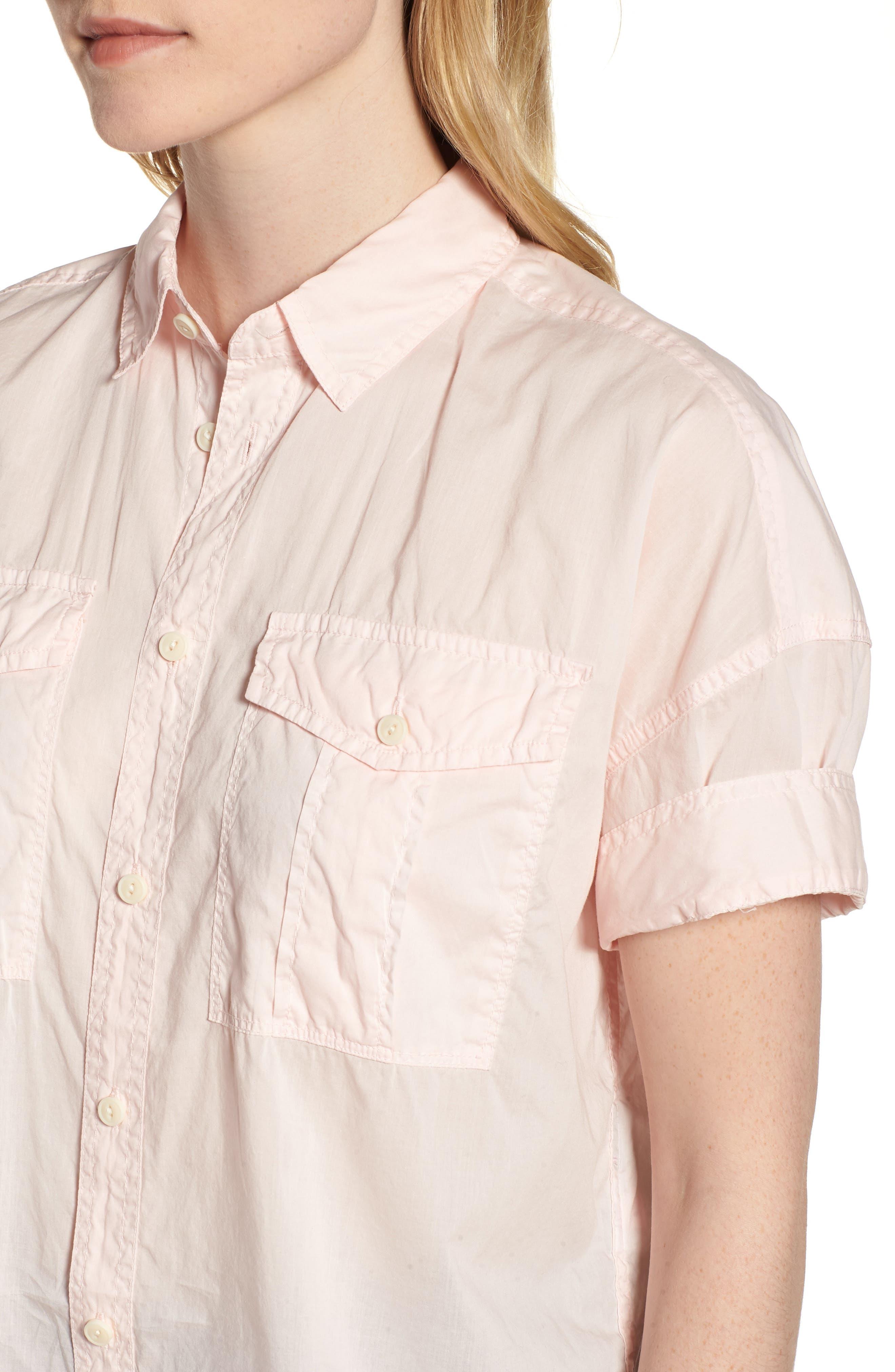 J.Crew Utility Pocket Shirt,                             Alternate thumbnail 7, color,                             Pastel Pink