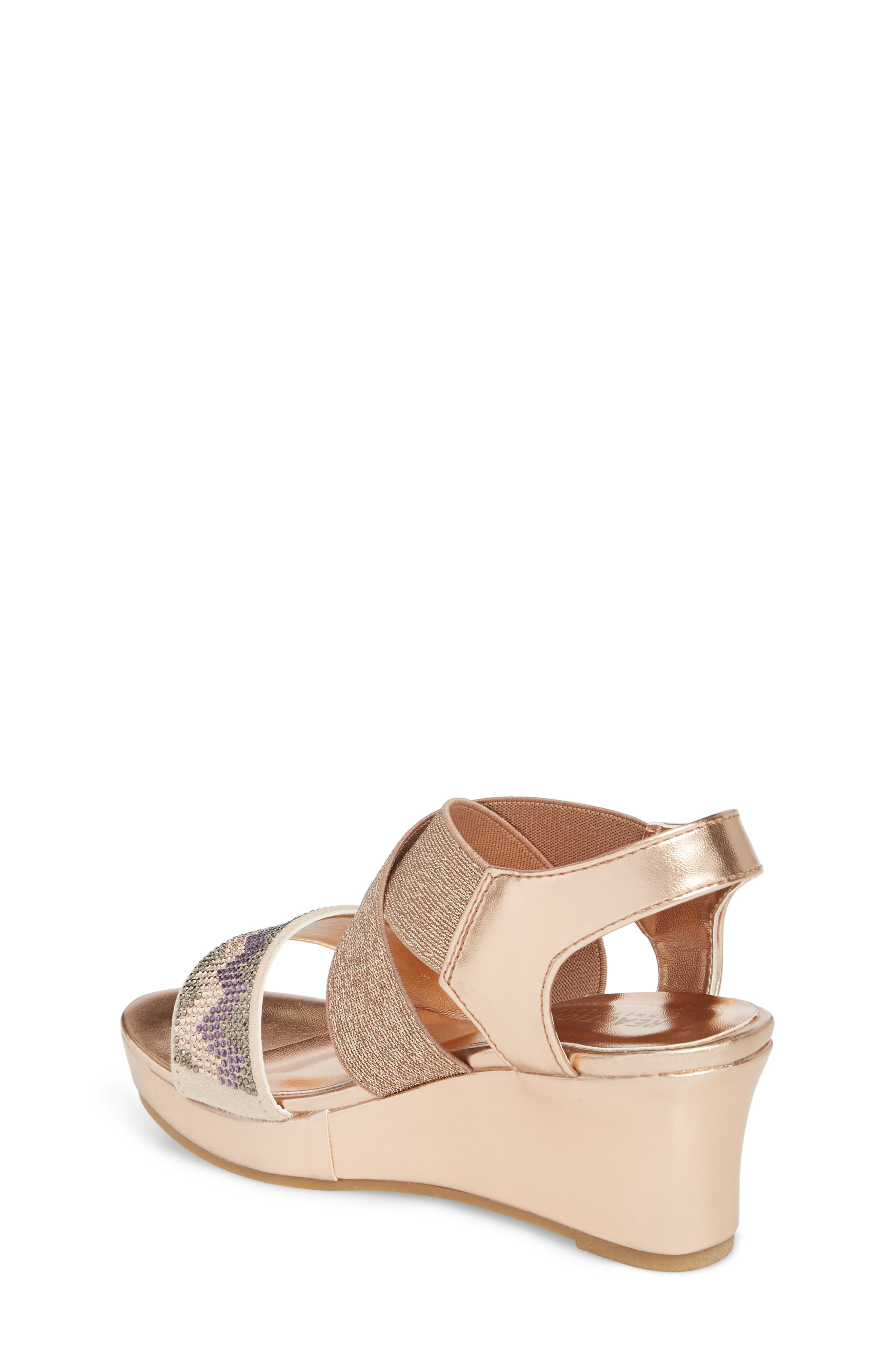 Reaction Kenneth Cole Reed Mamba Embellished Wedge Sandal,                             Alternate thumbnail 2, color,                             Rose Metallic