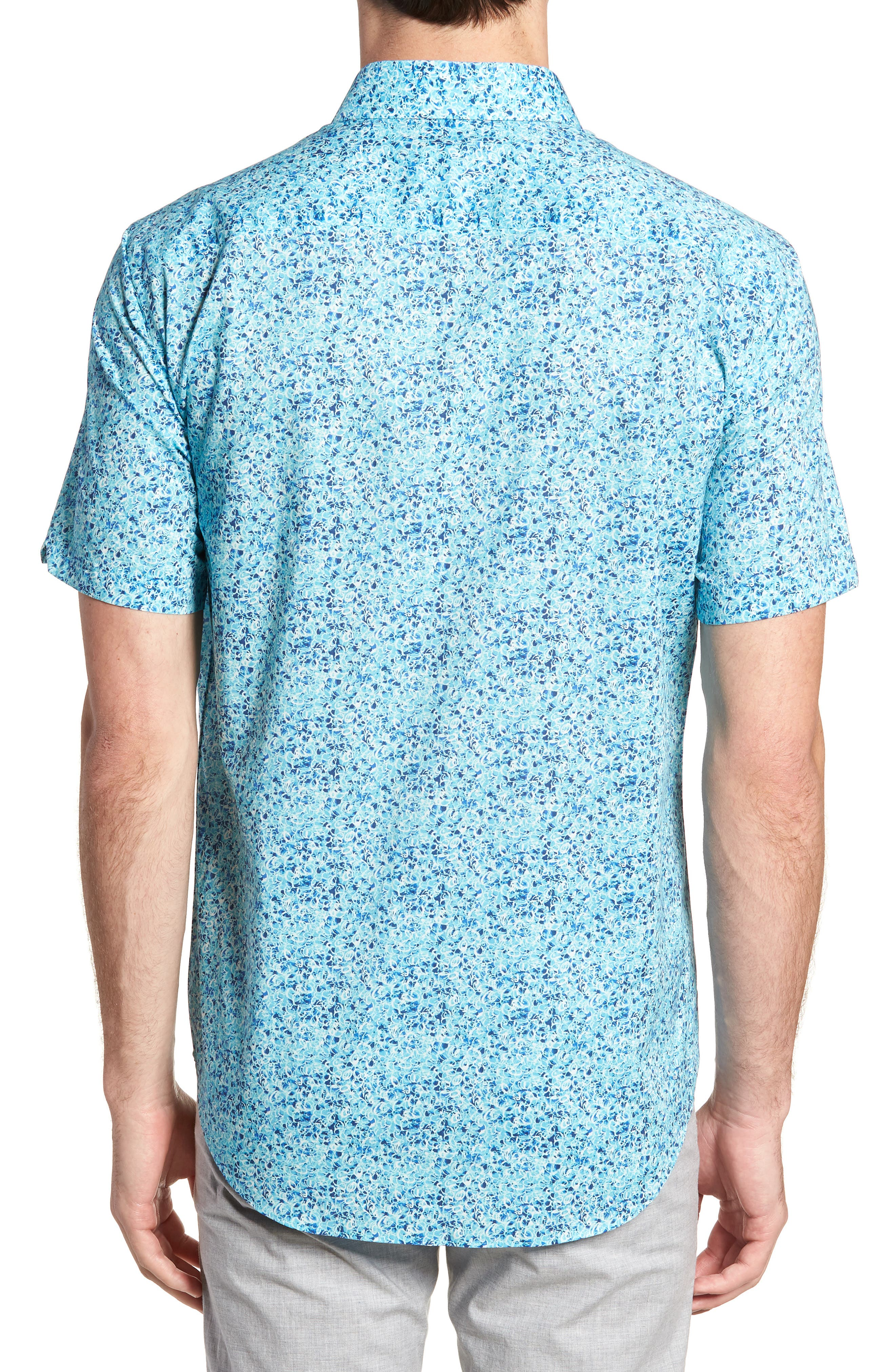 Kincaid Scribble Print Sport Shirt,                             Alternate thumbnail 2, color,                             Aqua