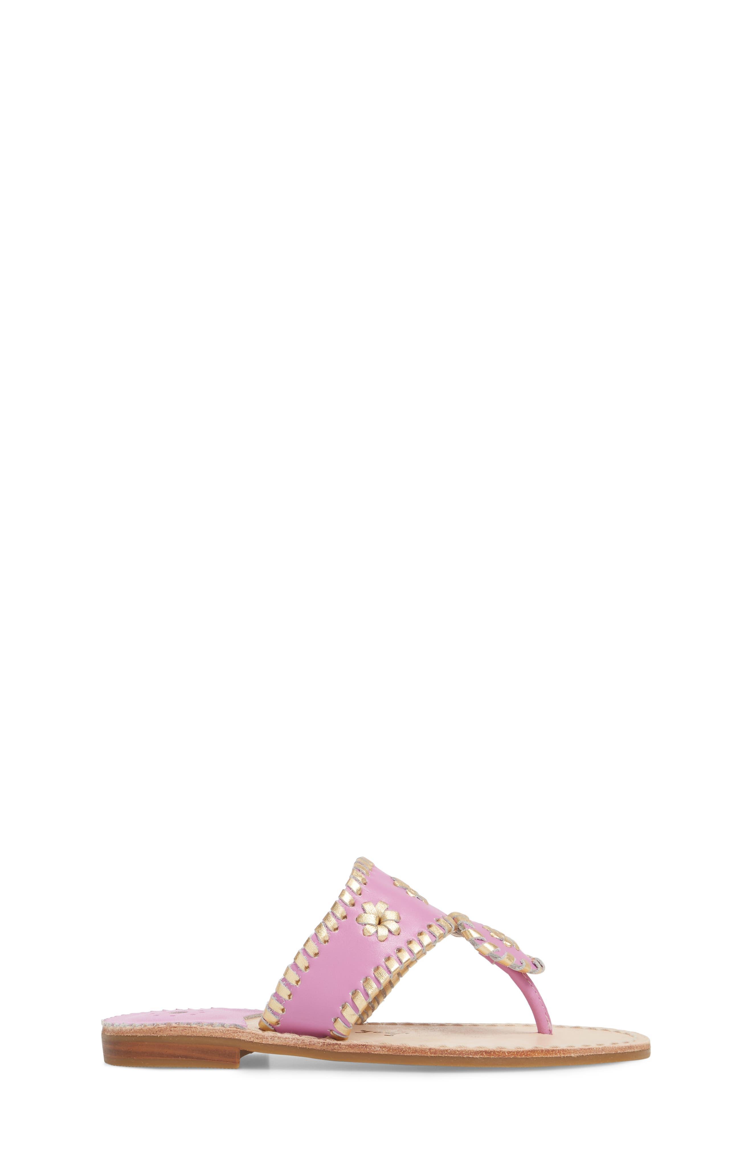 Miss Hollis Metallic Trim Thong Sandal,                             Alternate thumbnail 3, color,                             Lavender Pink/ Gold Leather
