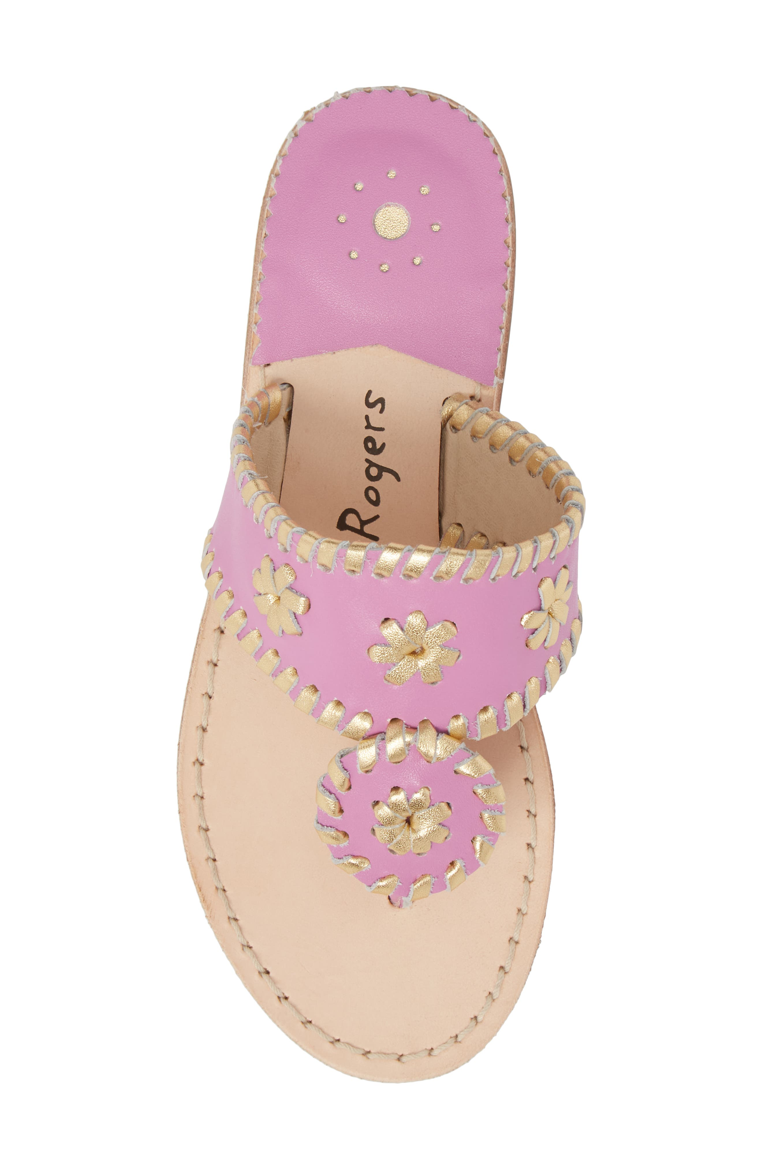 Miss Hollis Metallic Trim Thong Sandal,                             Alternate thumbnail 5, color,                             Lavender Pink/ Gold Leather