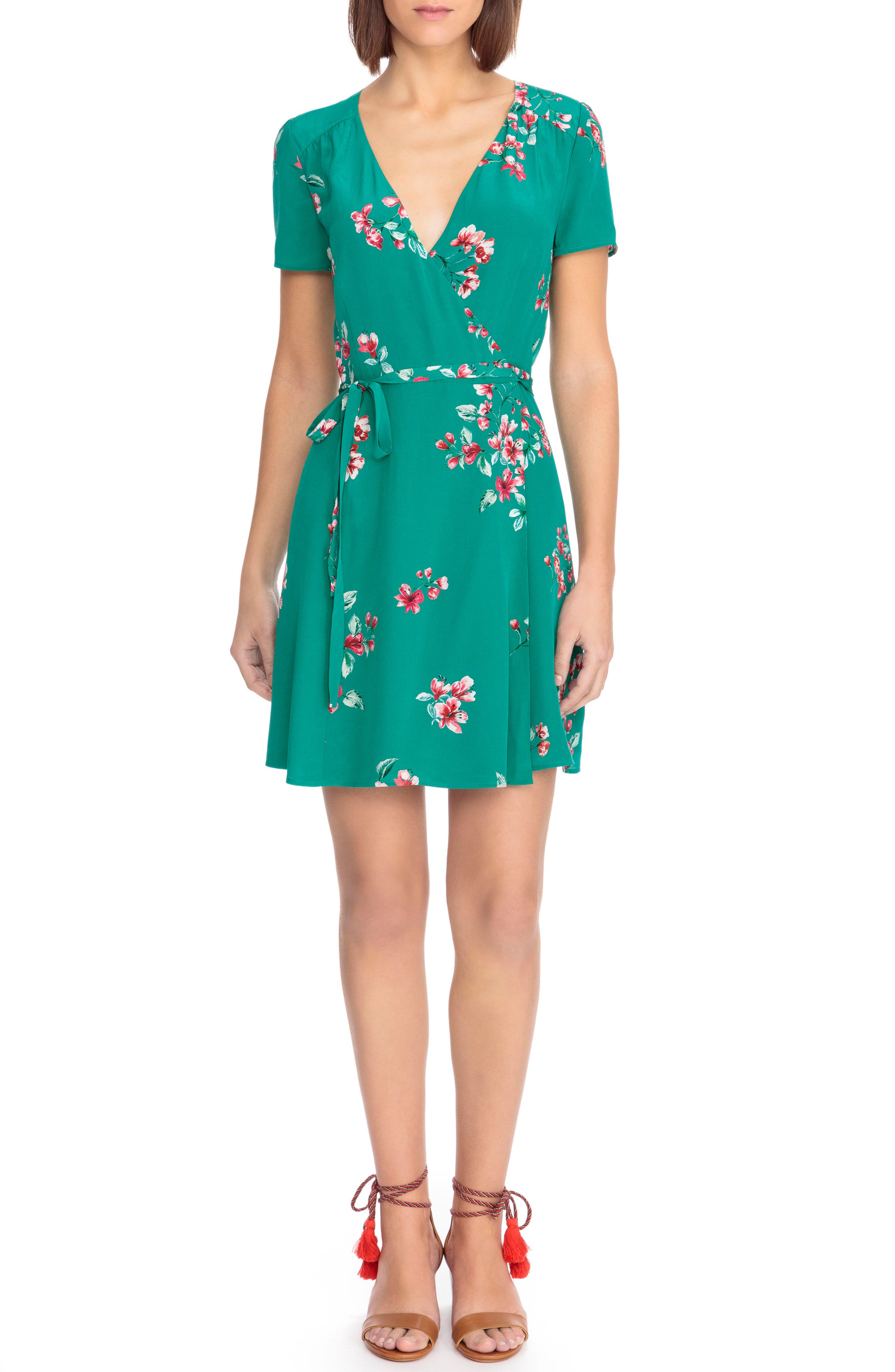 Anastasia Silk Wrap Dress,                         Main,                         color, Bouquet Print On Green