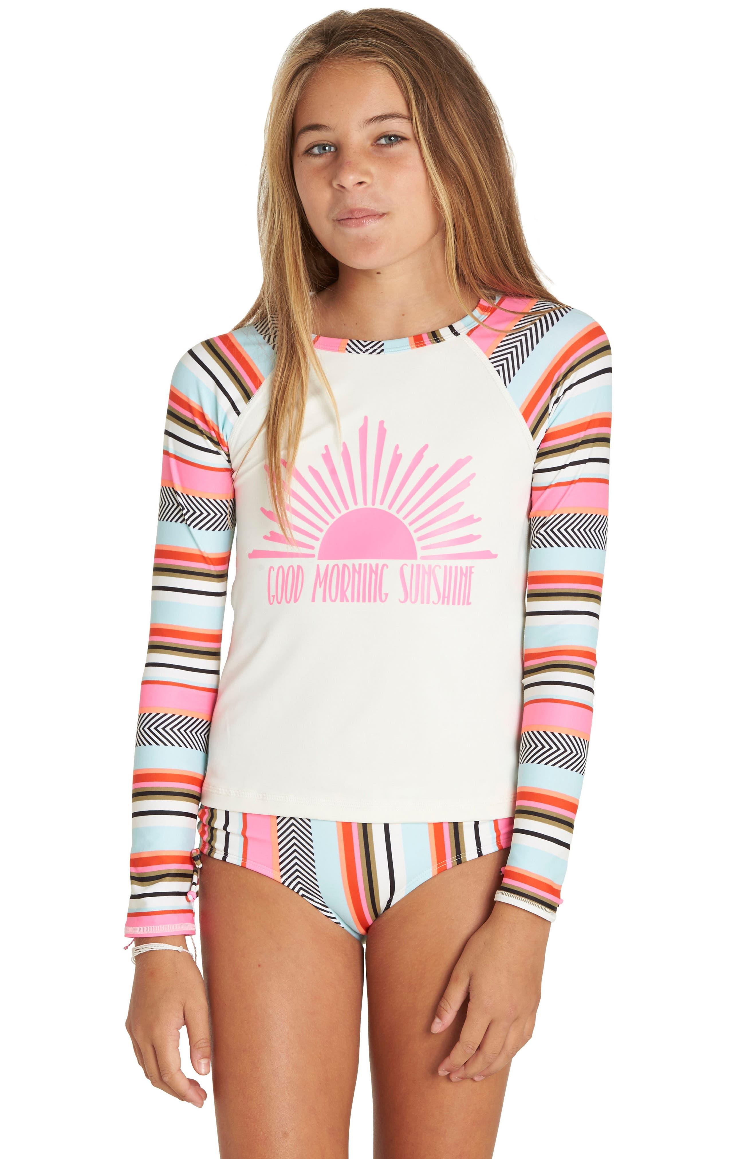 Good Morning Sunshine Two-Piece Rashguard Swimsuit,                             Alternate thumbnail 3, color,                             Multi