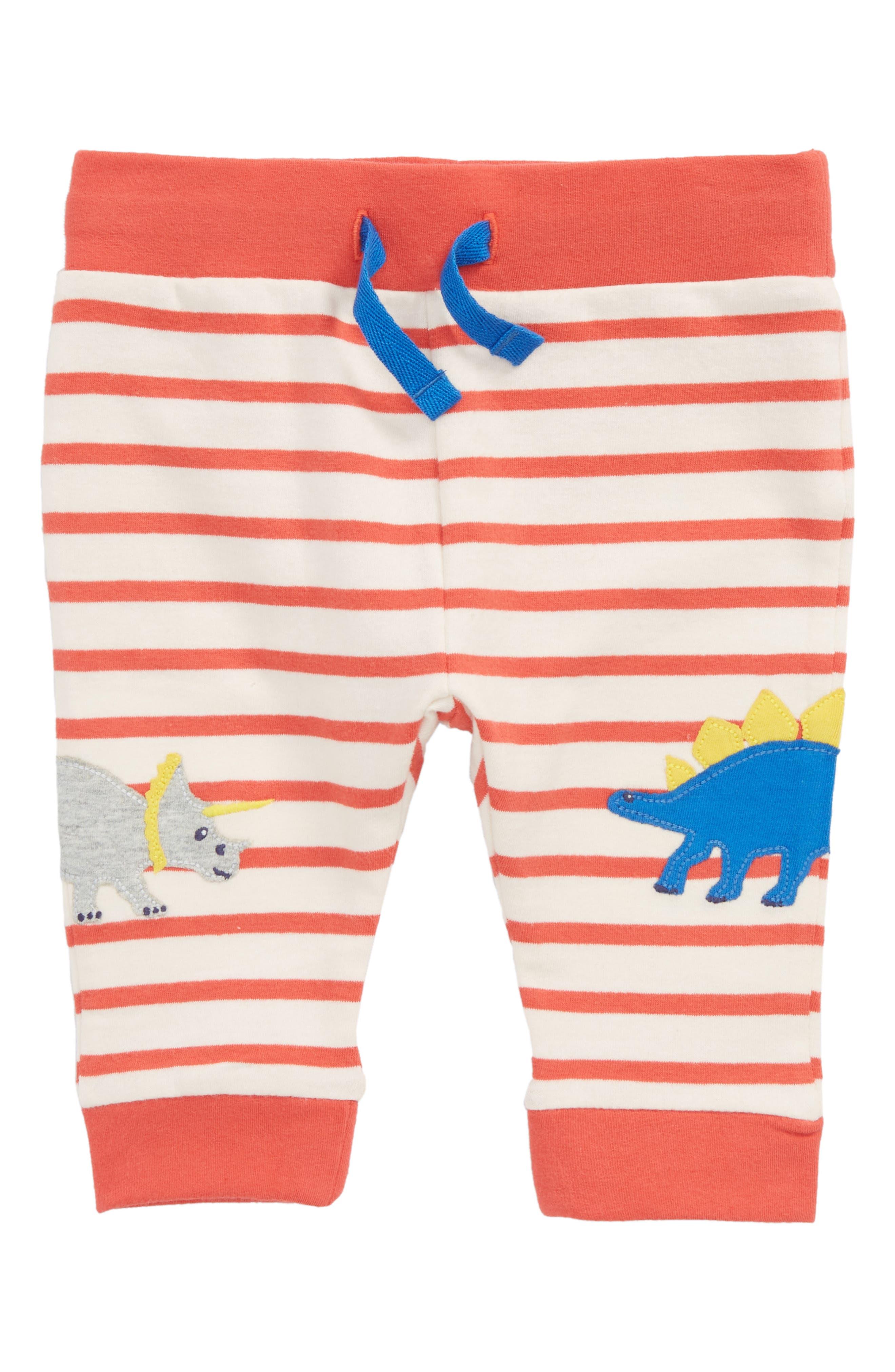 Mini Boden Fun Dino Appliqué Jersey Pants (Baby Boys)